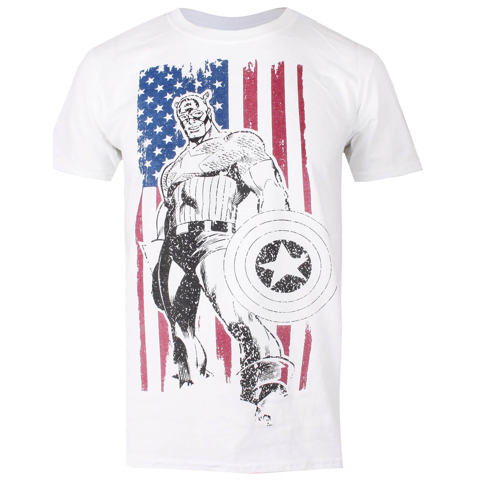 Marvel Mens Captain America Flag T Shirt White Merchandise Zavvi Us Fiction Blouse With Obi Off Men
