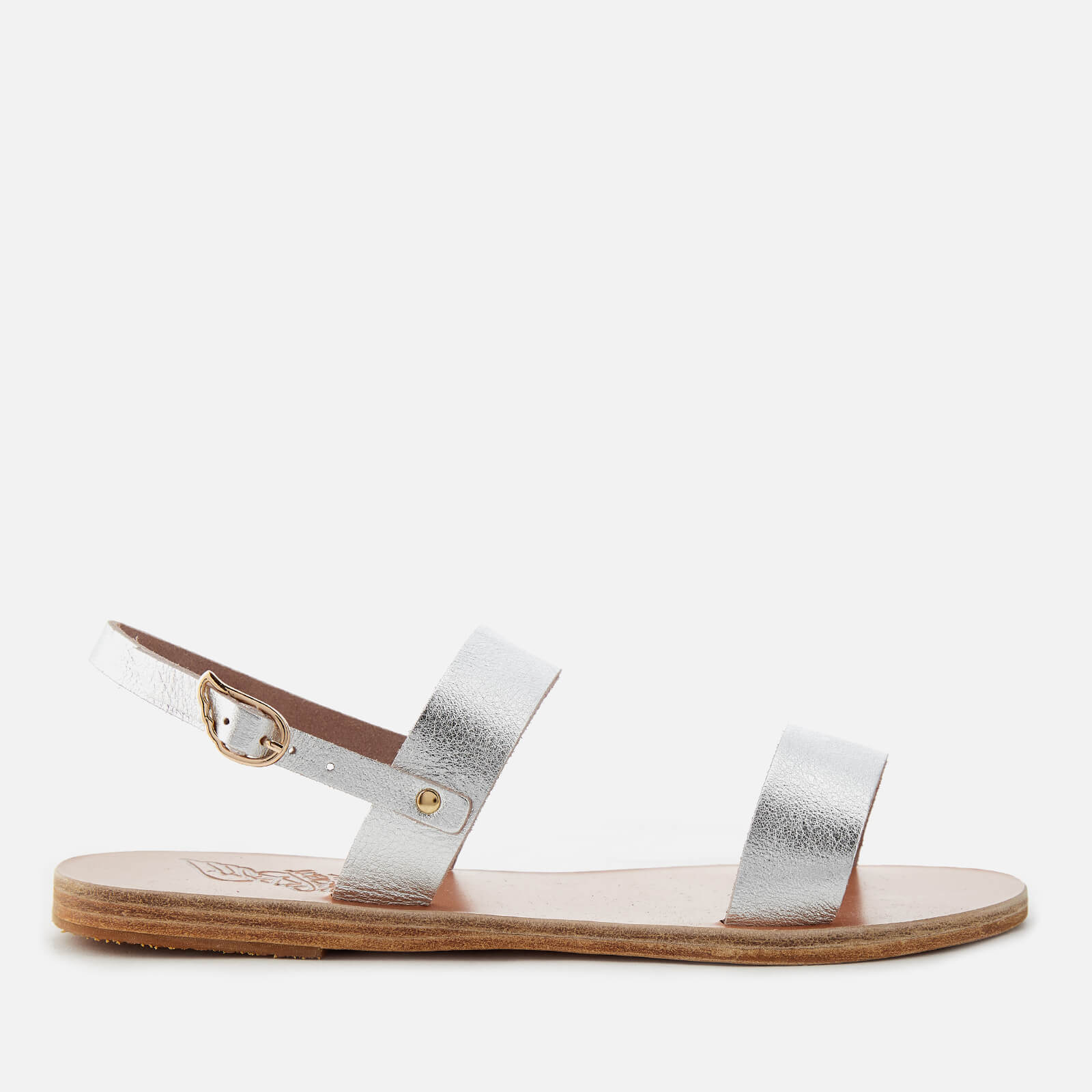 be17609a8 Ancient Greek Sandals Women s Clio Metallic Double Strap Sandals - Metal  Silver - Free UK Delivery over £50