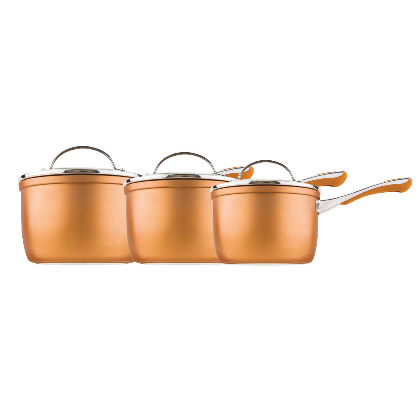 Prestige Prism 3 Piece Saucepan Set (16cm, 18cm and 20cm) - Copper
