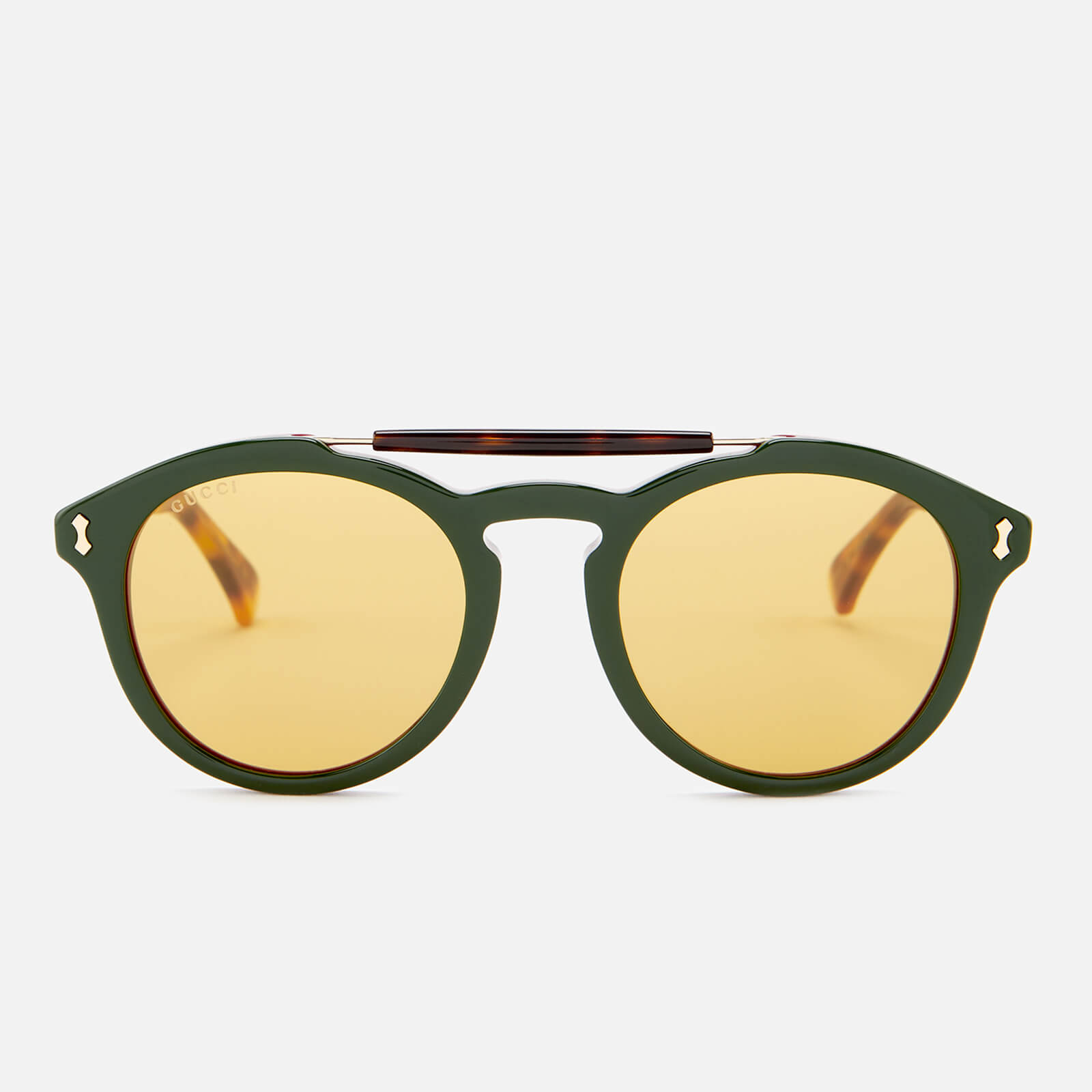 8f2fcee8937 Gucci Men s Flip Top Aviator Sunglasses - Havana Green - Free UK Delivery  over £50