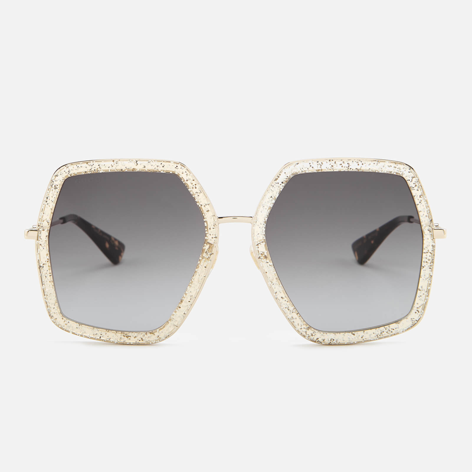 f38e6fab21 Gucci Women s Metal Square Frame Sunglasses - Gold Brown - Free UK Delivery  over £50