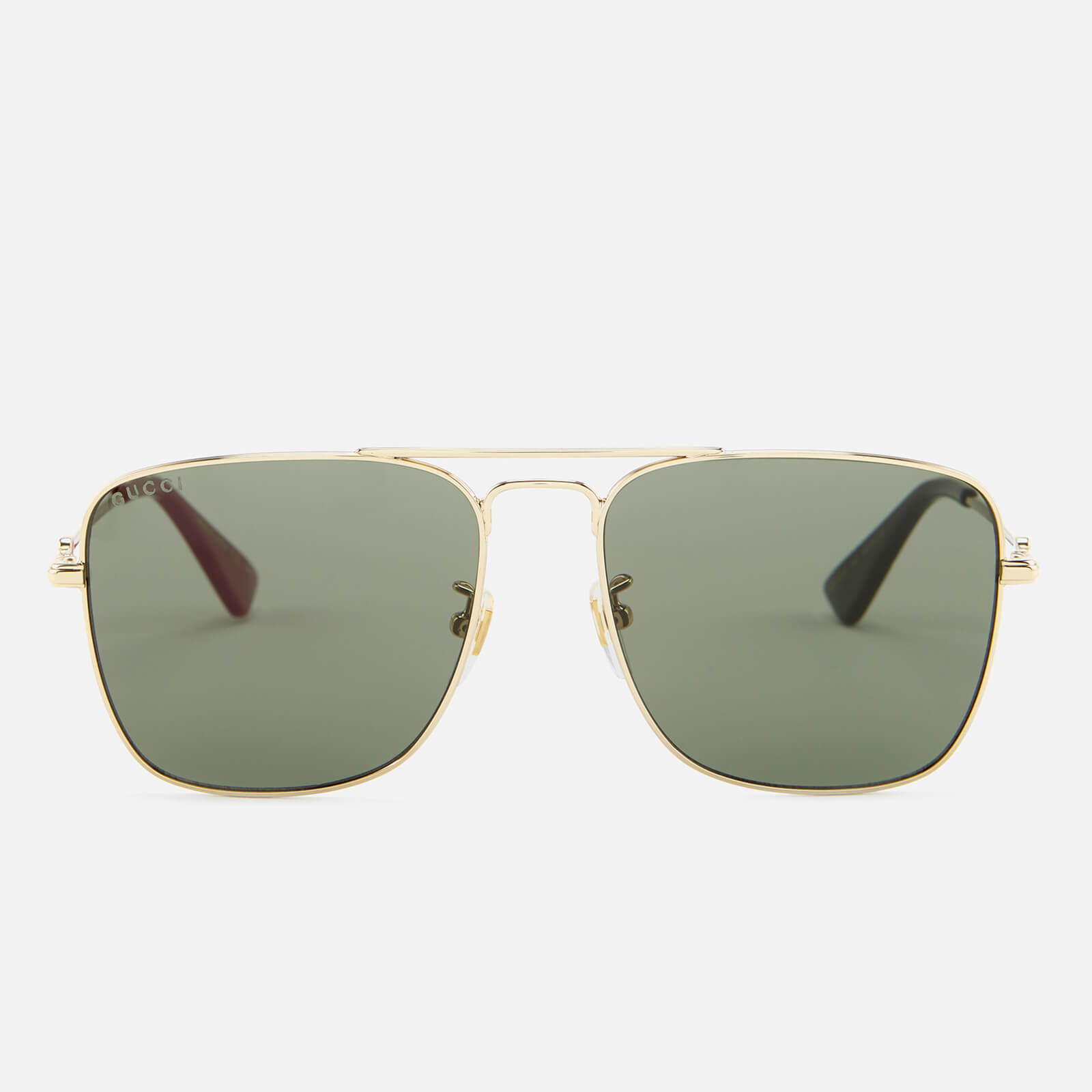 9a5aabc8c3 Gucci Men s Square Metal Frame Sunglasses - Gold Green - Free UK Delivery  over £50