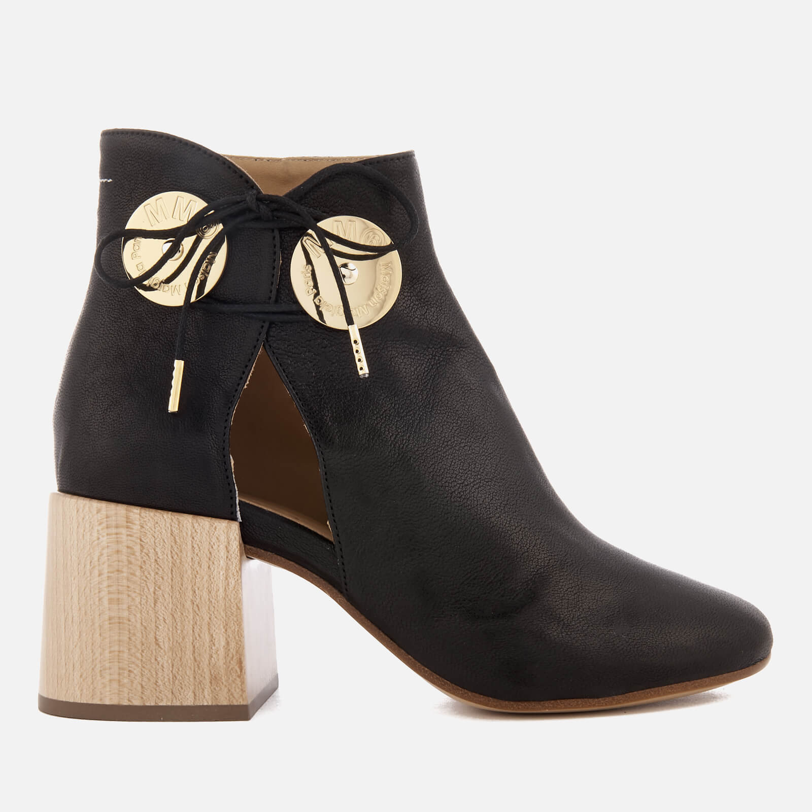 74da0cf271 MM6 Maison Margiela Women's Ankle Boot with Cut Out Side and Wooden Block  Heels - Black - Free UK Delivery over £50