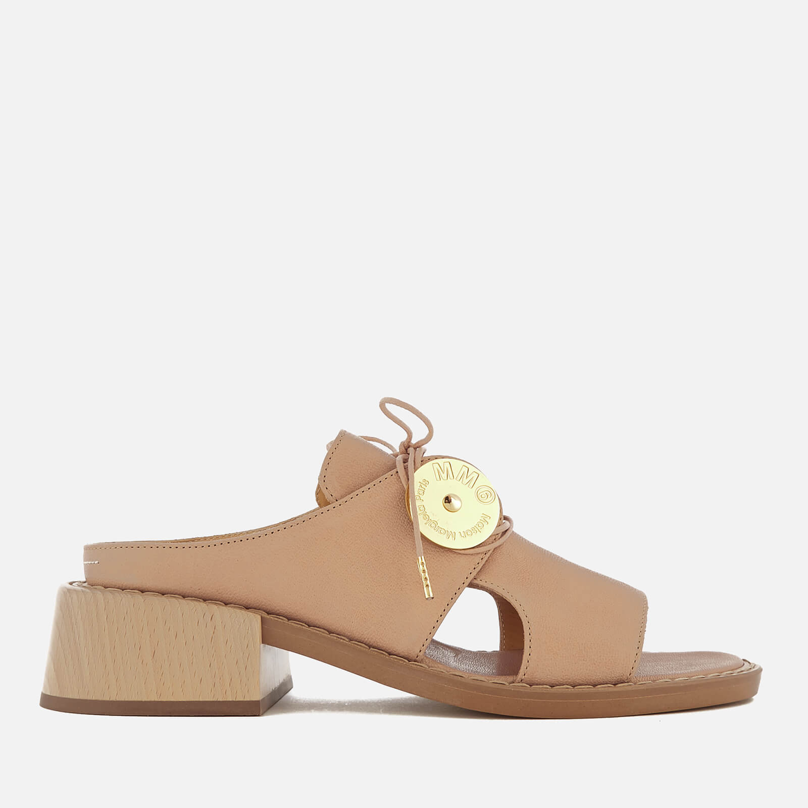 a9e1e10106317 MM6 Maison Margiela Women's Open Toe Slip On Sandal with Wooden Block Heels  - Sand - Free UK Delivery over £50