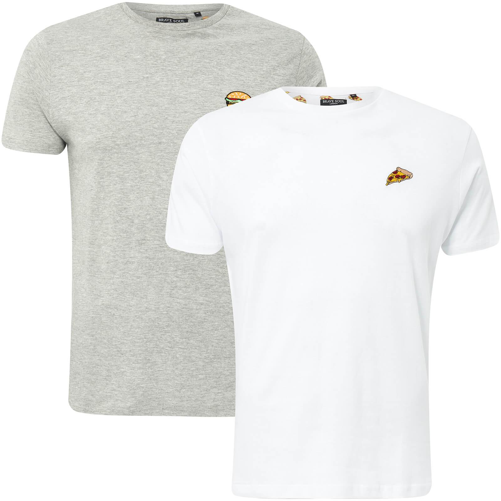 8e4218c7e Brave Soul Men's Dorado Burger & Pizza 2-Pack T-Shirt - Light Grey Marl/ White Clothing | Zavvi