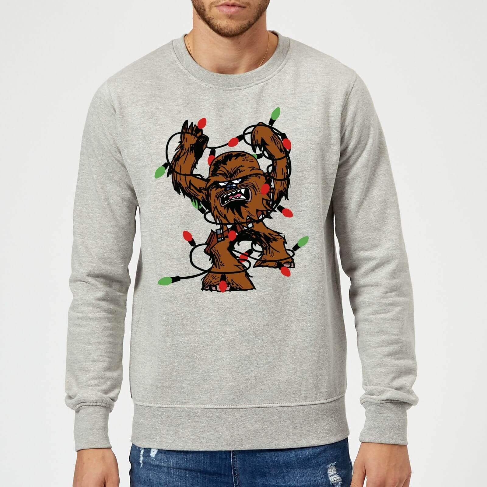 Star Wars Tangled Fairy Lights Chewbacca Grey Christmas Sweatshirt ...