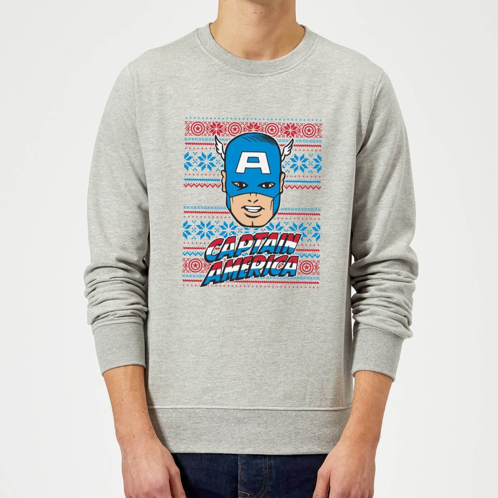 Kersttrui 68.Marvel Comics Captain America Christmas Knit Grey Christmas