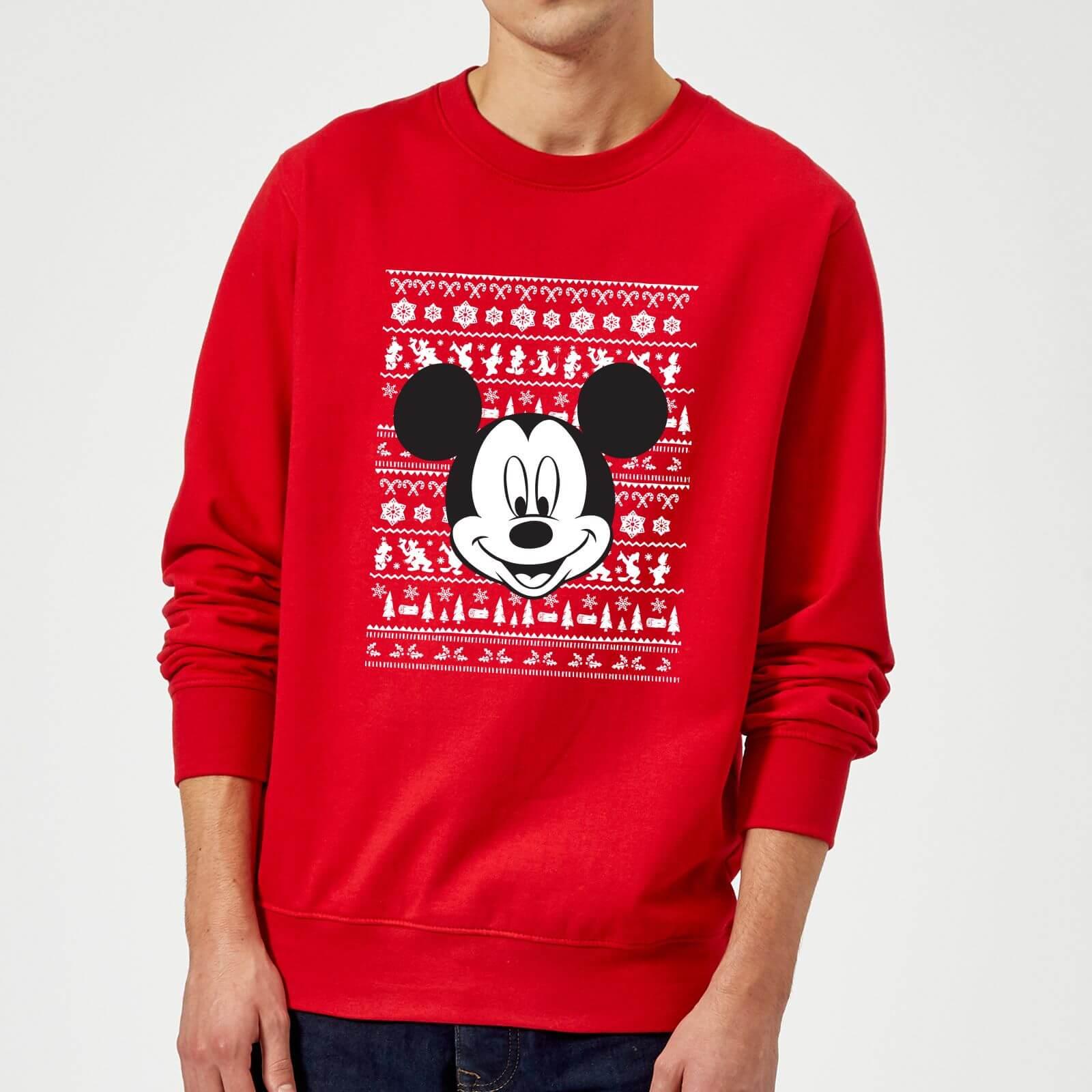 Mickey Mouse Disney Faces Christmas Sweatshirt (XXL): Bekleidung
