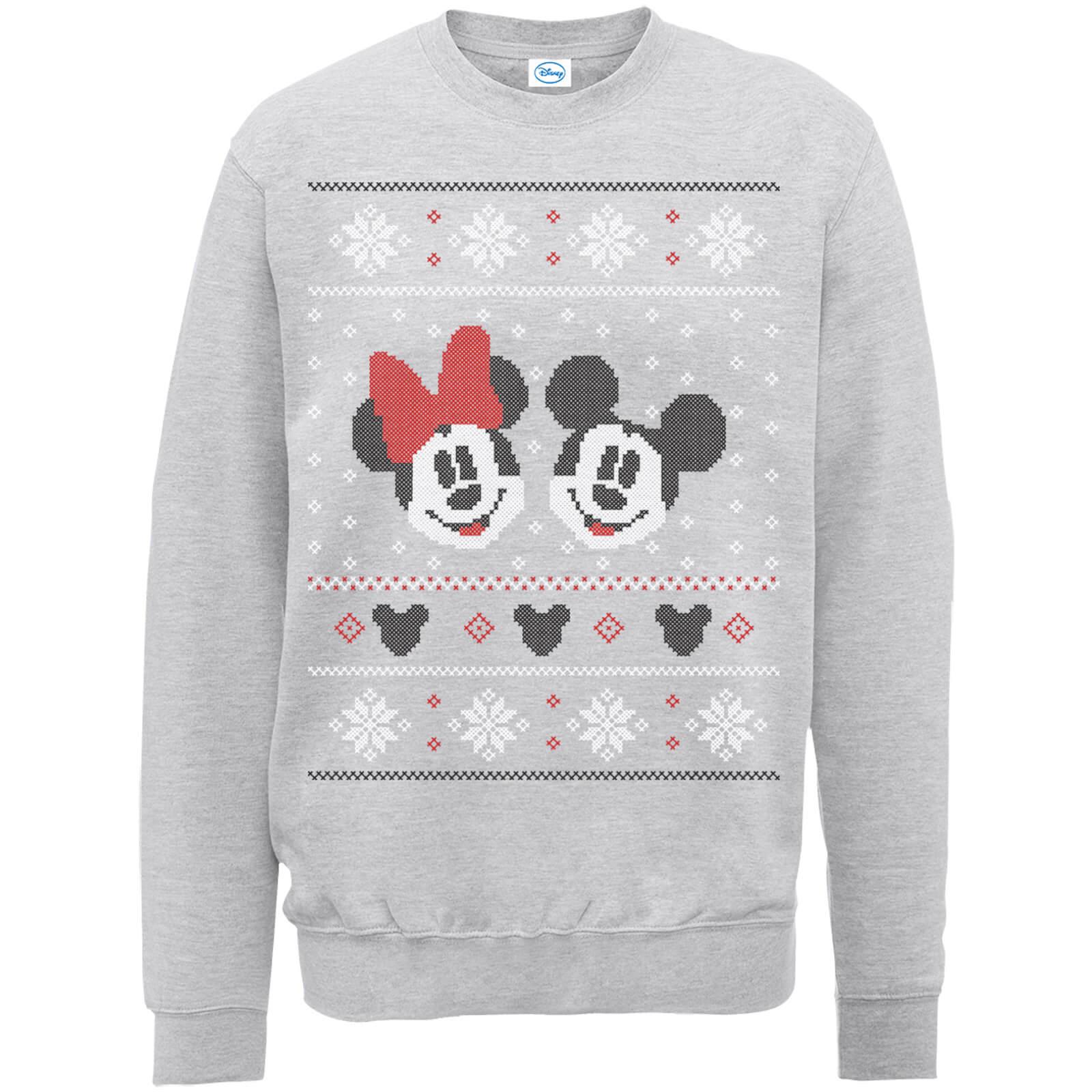 disney mickey mouse christmas mickey and minnie grey christmas sweatshirt