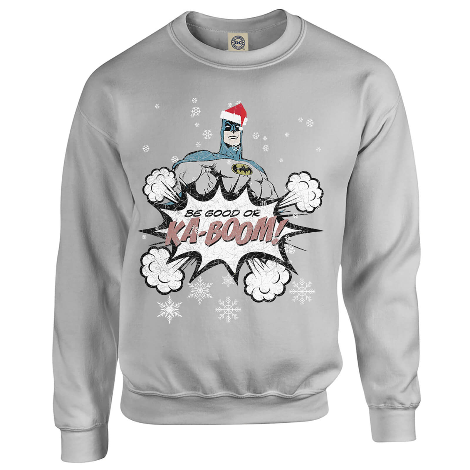 DC Comics Originals Batman Be Good Or Kaboom Grey Christmas Sweatshirt