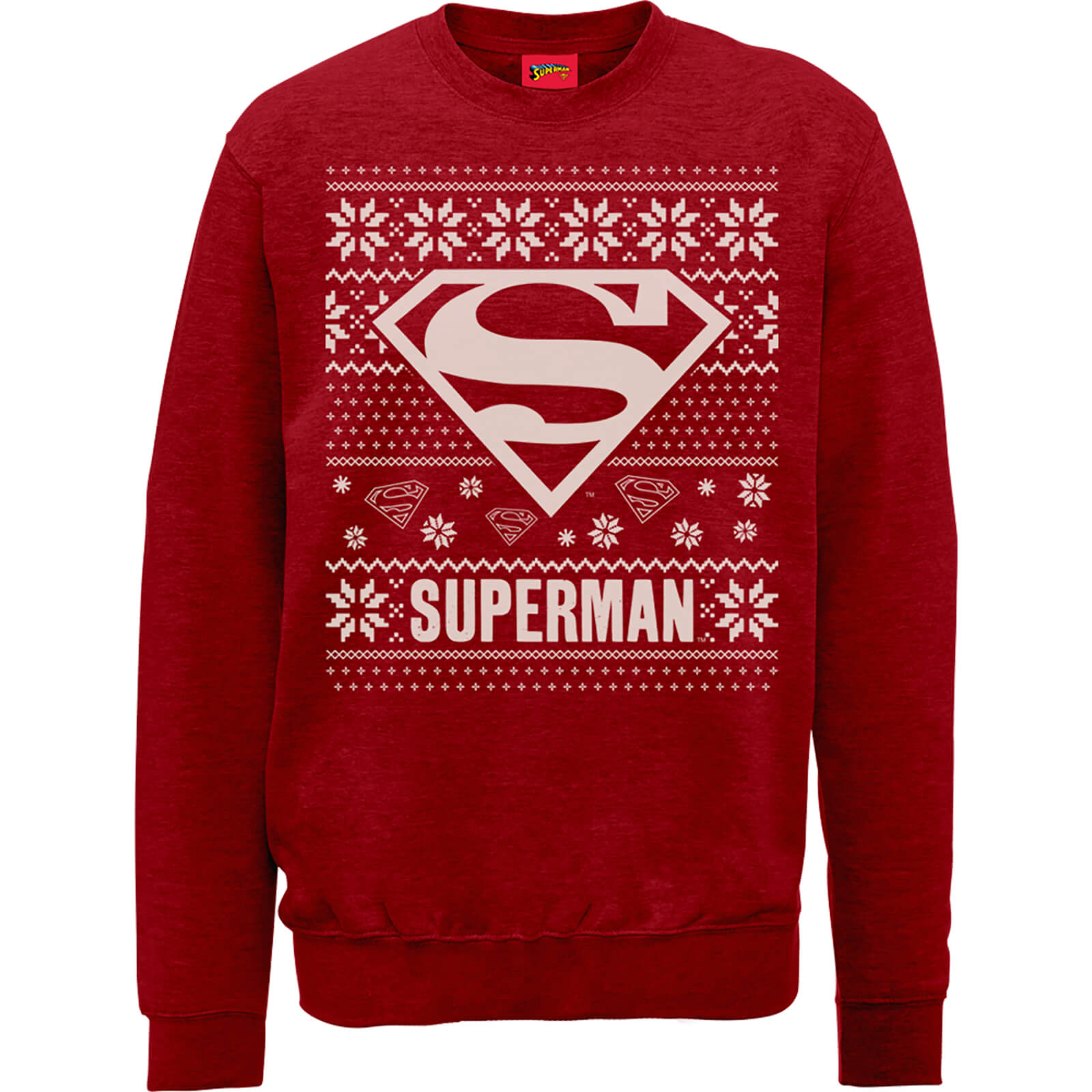 DC Superman Christmas Knit Logo Red Christmas Sweatshirt