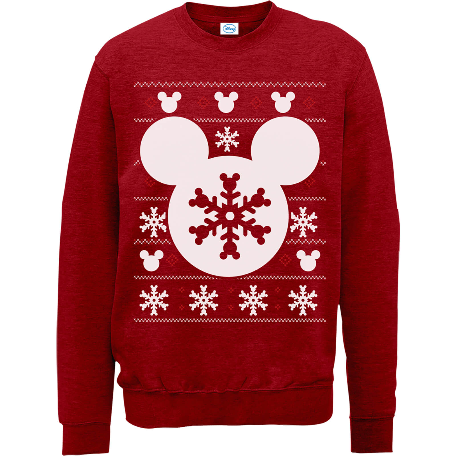 Kersttrui 68.Disney Mickey Mouse Christmas Snowflake Silhouette Red Christmas