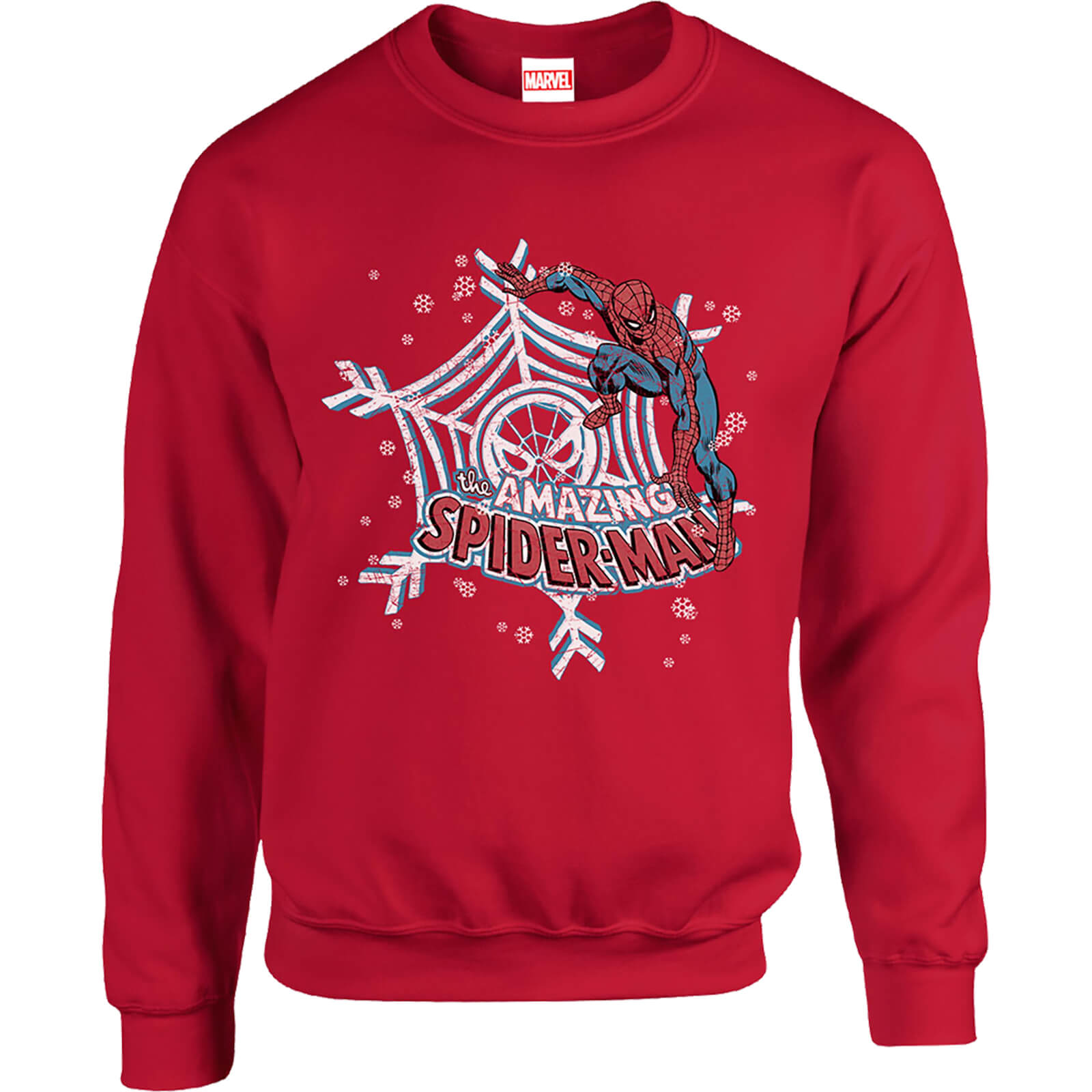 Marvel Comics The Amazing Spiderman Snowflake Web Red Christmas Sweatshirt