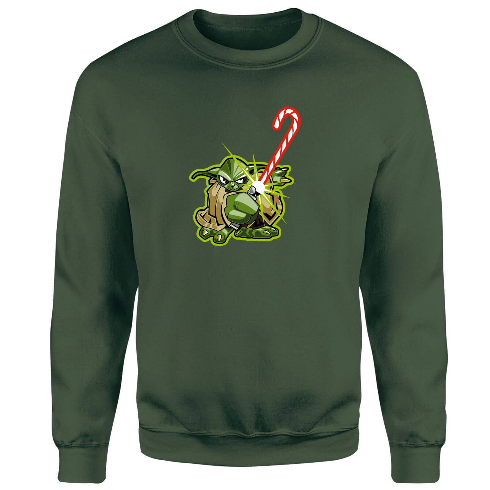 Star Wars Candy Cane Yoda Green Christmas Sweatshirt
