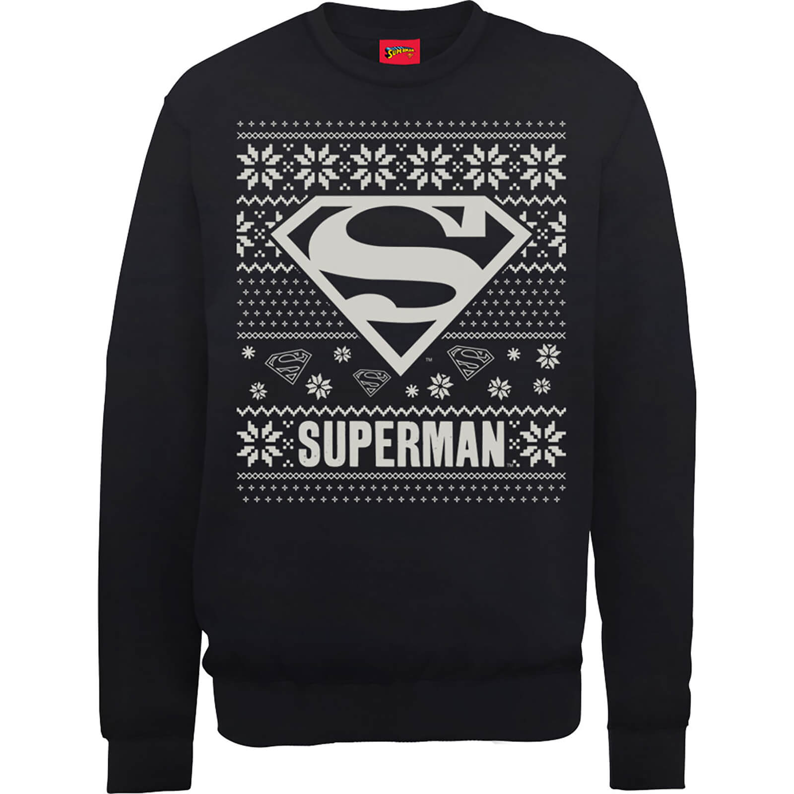 DC Superman Christmas Knit Logo Black Christmas Sweatshirt