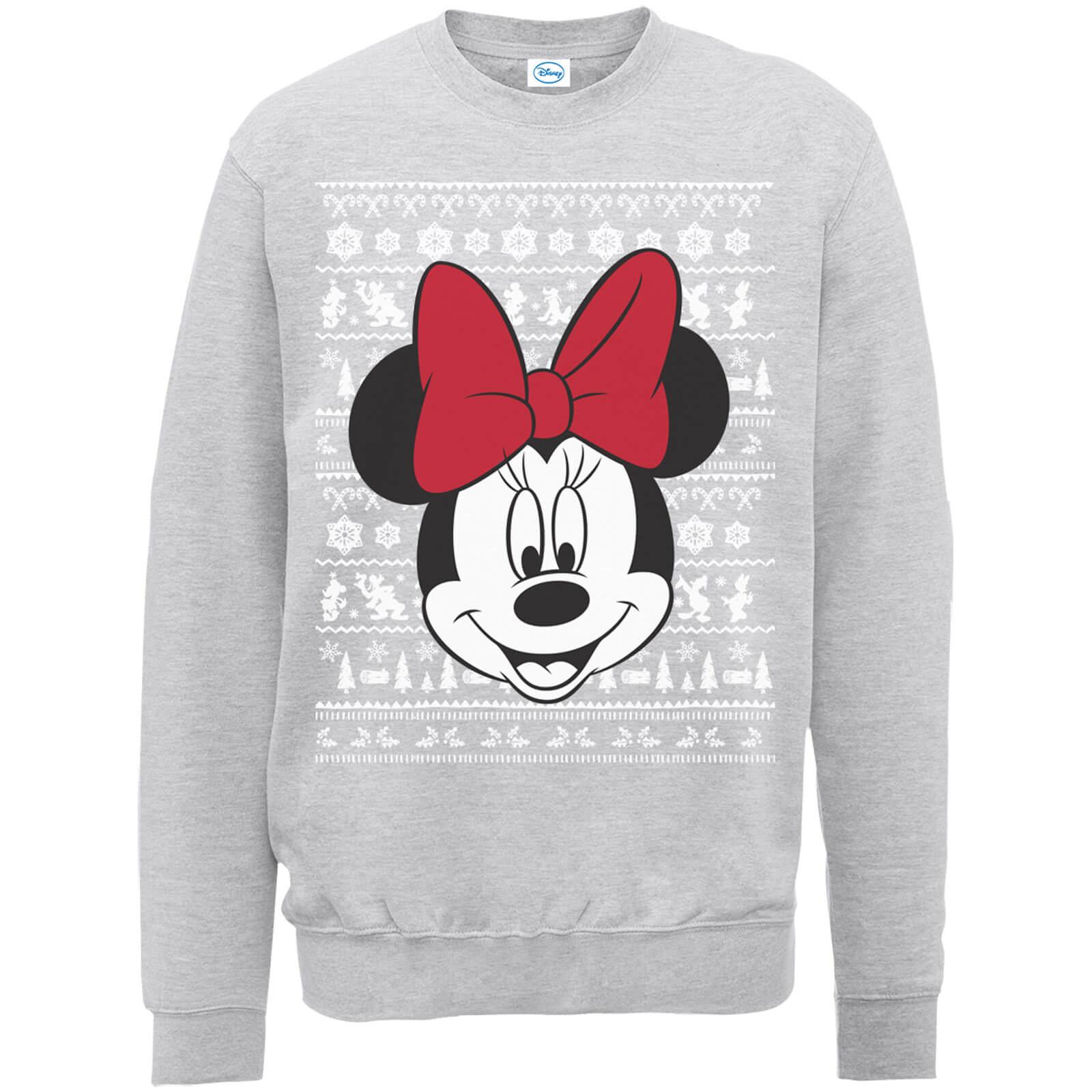 e9dbd10759 Disney Minnie Mouse Christmas Minnie Face Grey Christmas Sweatshirt