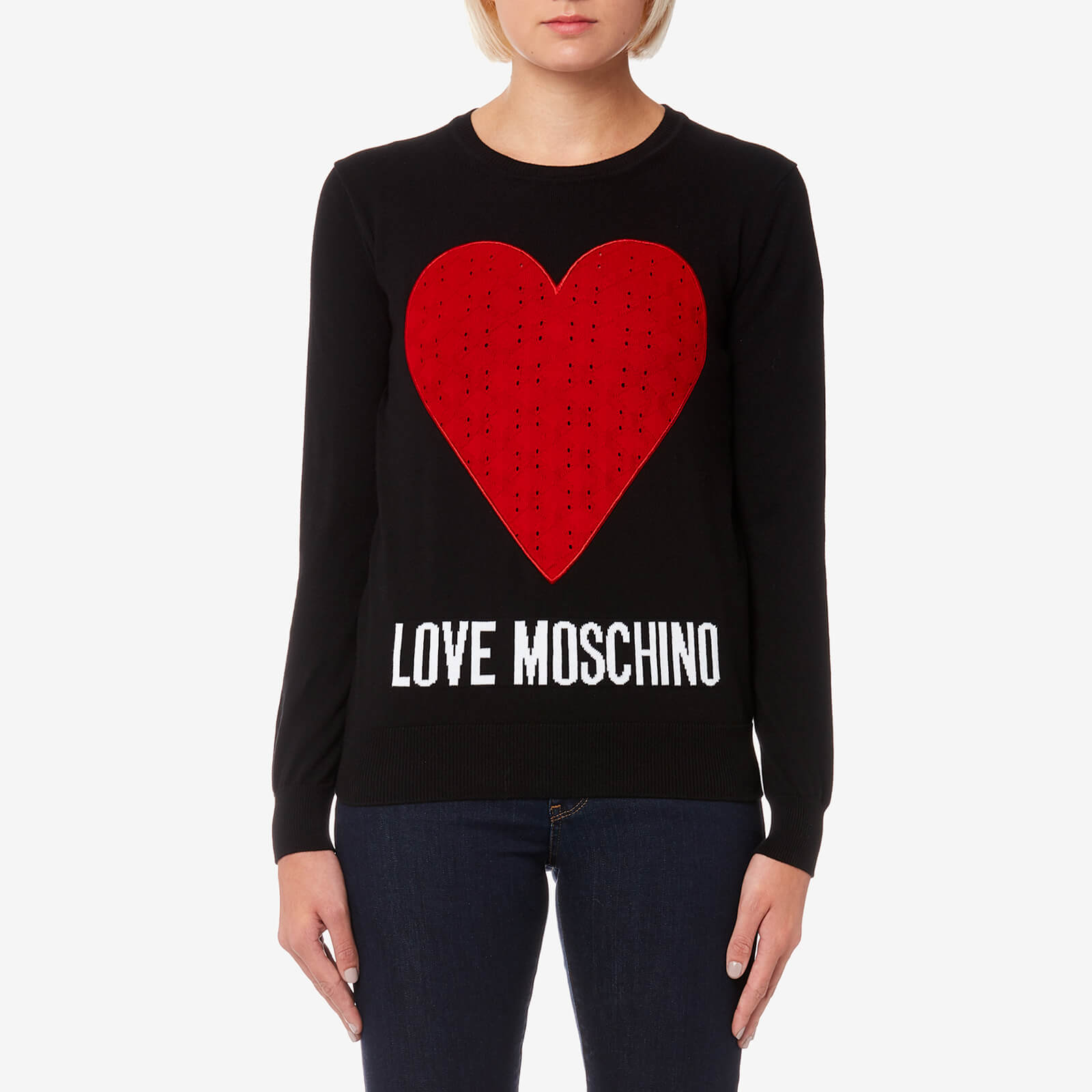 22201cf2478d8 Love Moschino Women's Heart Logo Jumper - Black Womens Clothing   TheHut.com