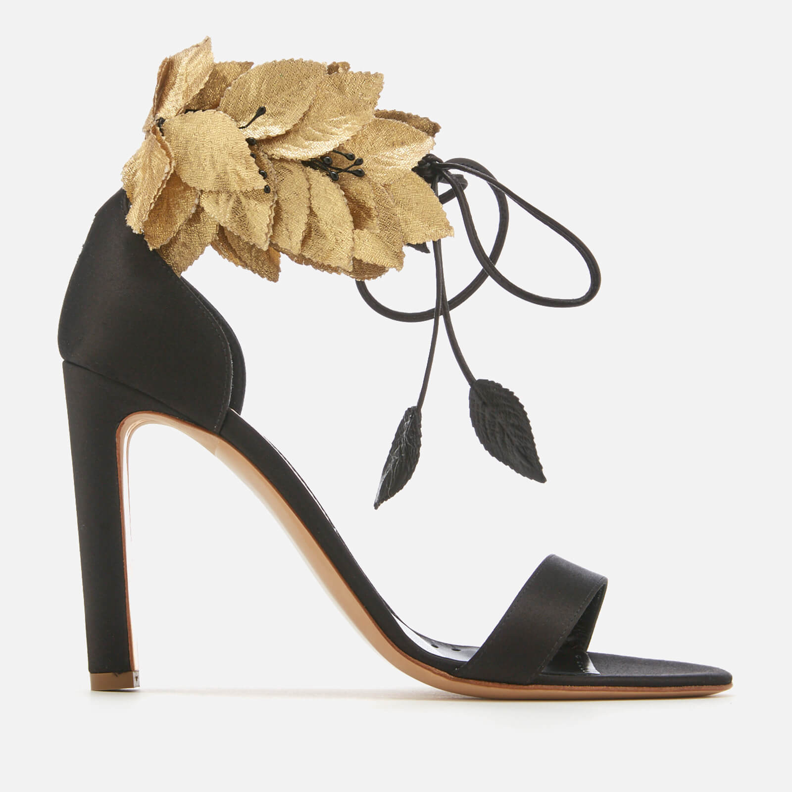 3c9c9c2437b3 Rupert Sanderson Women s Eden Heeled Sandals - Black Satin Gold Silk - Free  UK Delivery over £50