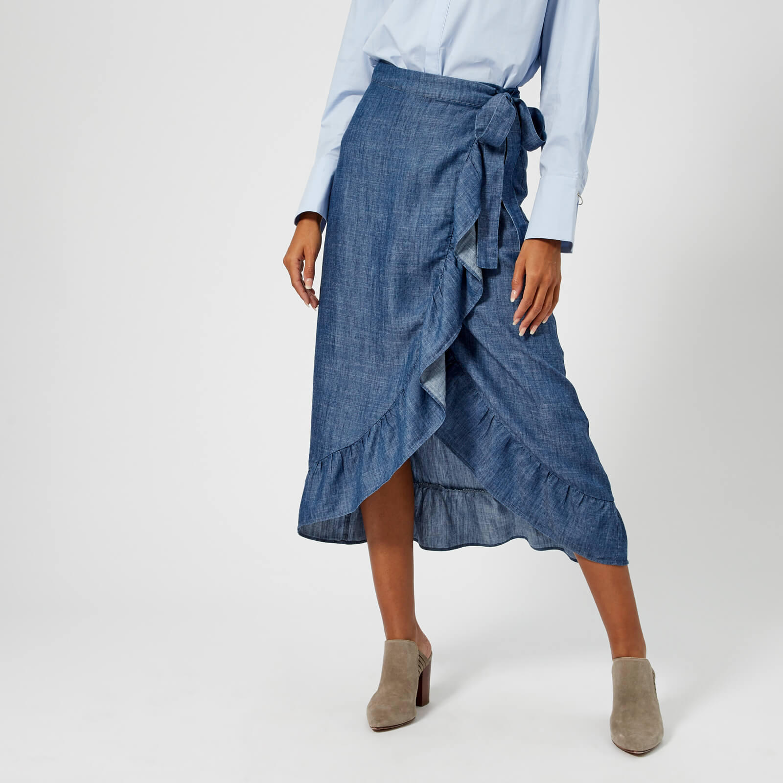 899cd07d243 Gestuz Women's Cyndie Denim Skirt with Tie Waist And Frill Detail - Denim  Blue Womens Clothing | TheHut.com