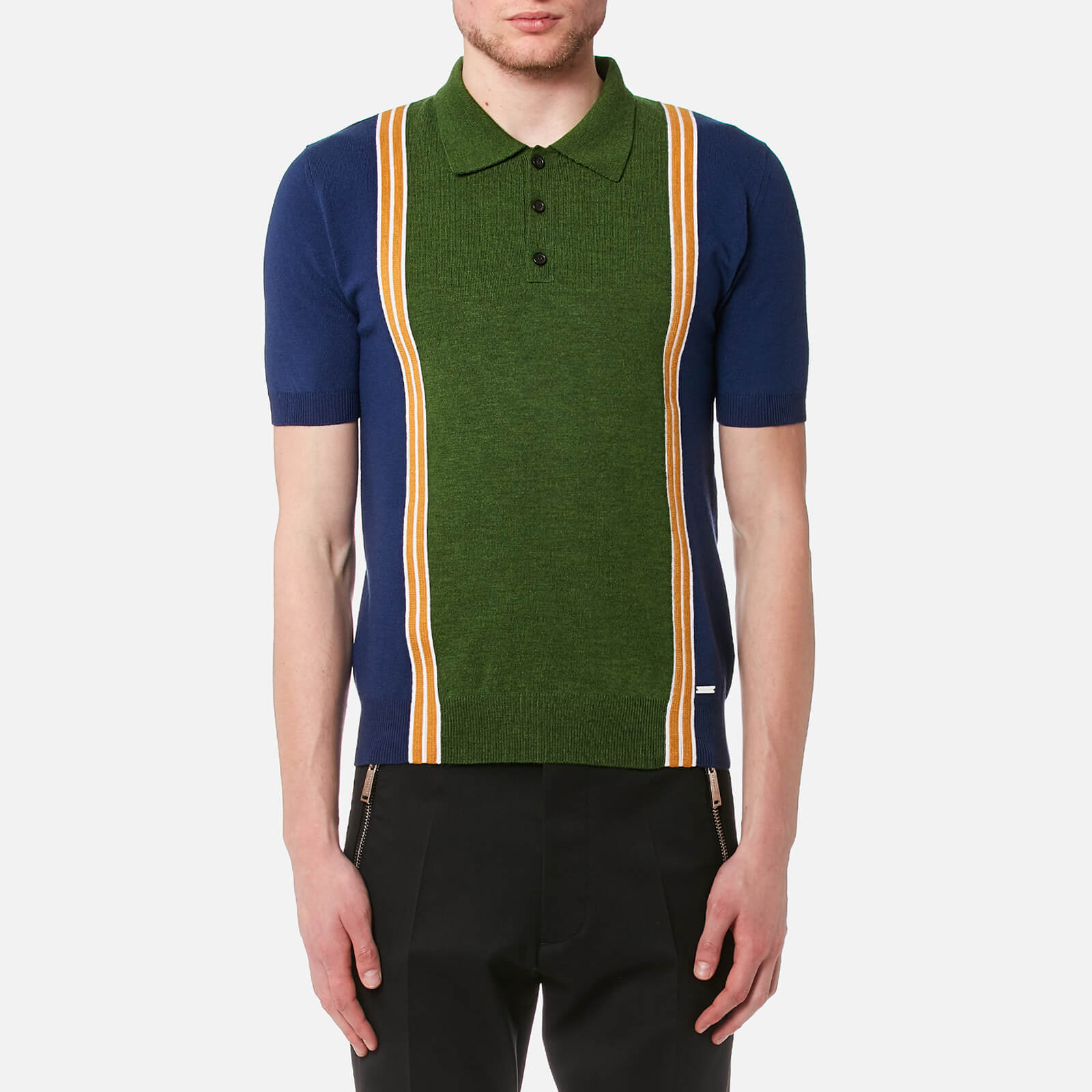 2f5c9e84 Dsquared2 Men's 3 Button Striped Knitted Polo Shirt - Blue/White/Ocre -  Free UK Delivery over £50