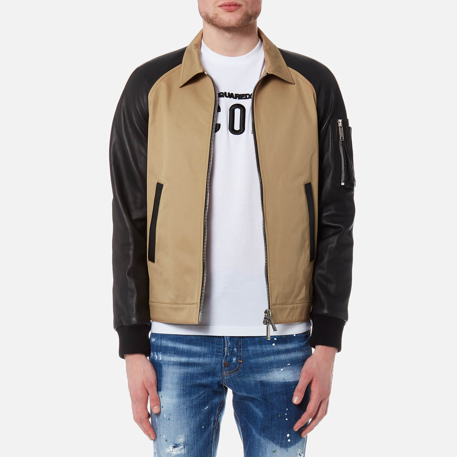 7f3df74e7a5 Dsquared2 Men s 50 s Bomber Jacket with Raglan Leather Sleeves - Kaky -  Free UK Delivery over £50