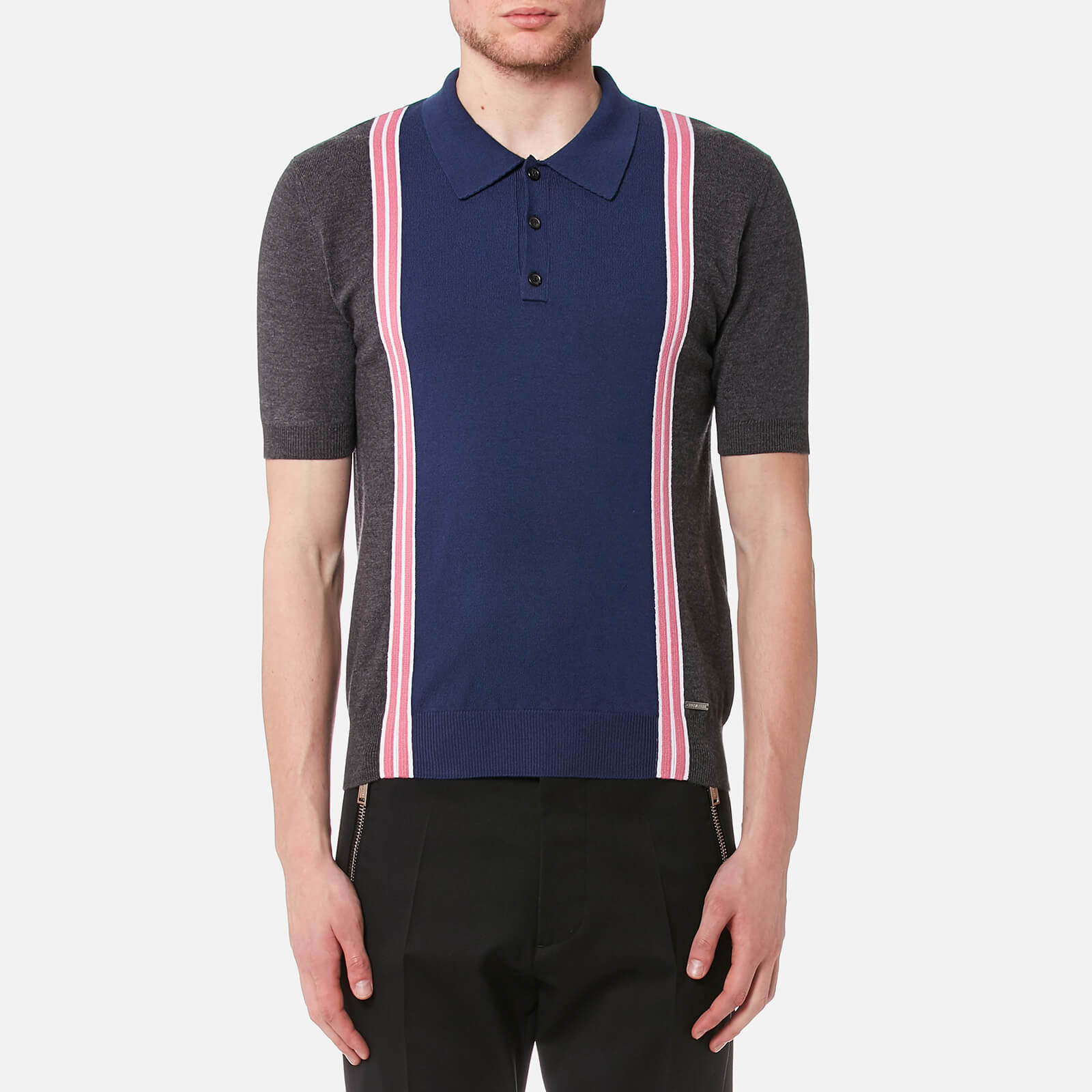 42faad41 Dsquared2 Men's 3 Button Striped Knitted Polo Shirt - Grey/White/Pink -  Free UK Delivery over £50