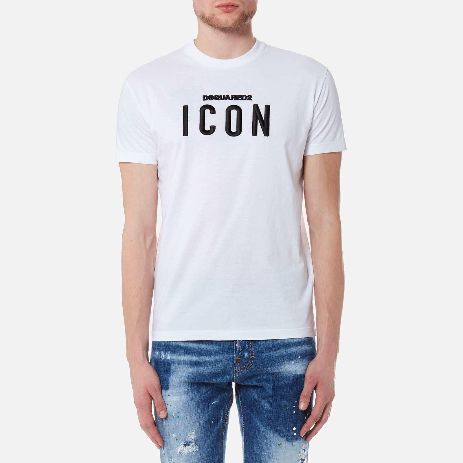 a50520d7c01781 Dsquared2 Men's Icon Logo Long Cool Fit T-Shirt - White - Free UK Delivery  over £50