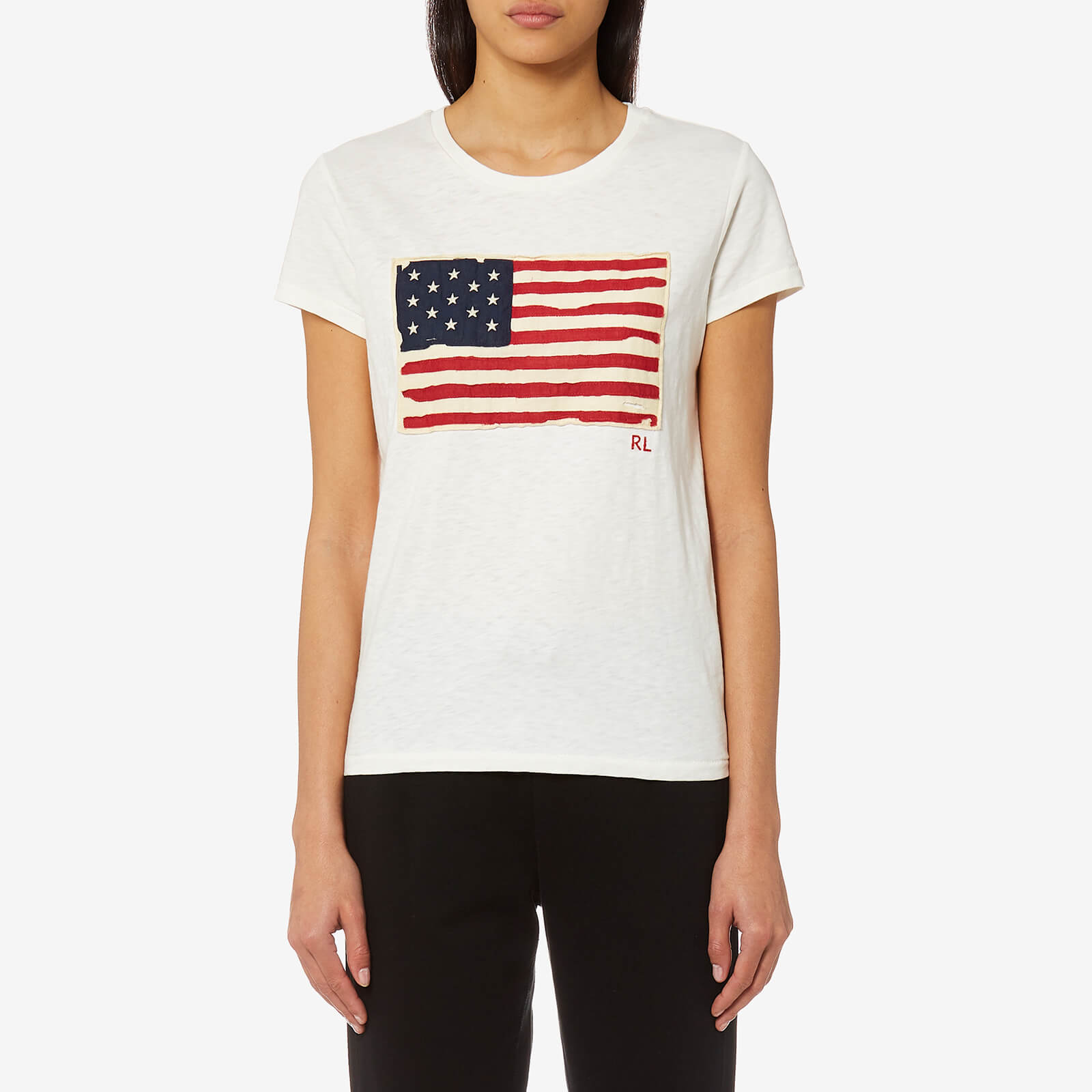 9e0d6615d4348 Polo Ralph Lauren Women s Flag T-Shirt - Cream - Free UK Delivery over £50