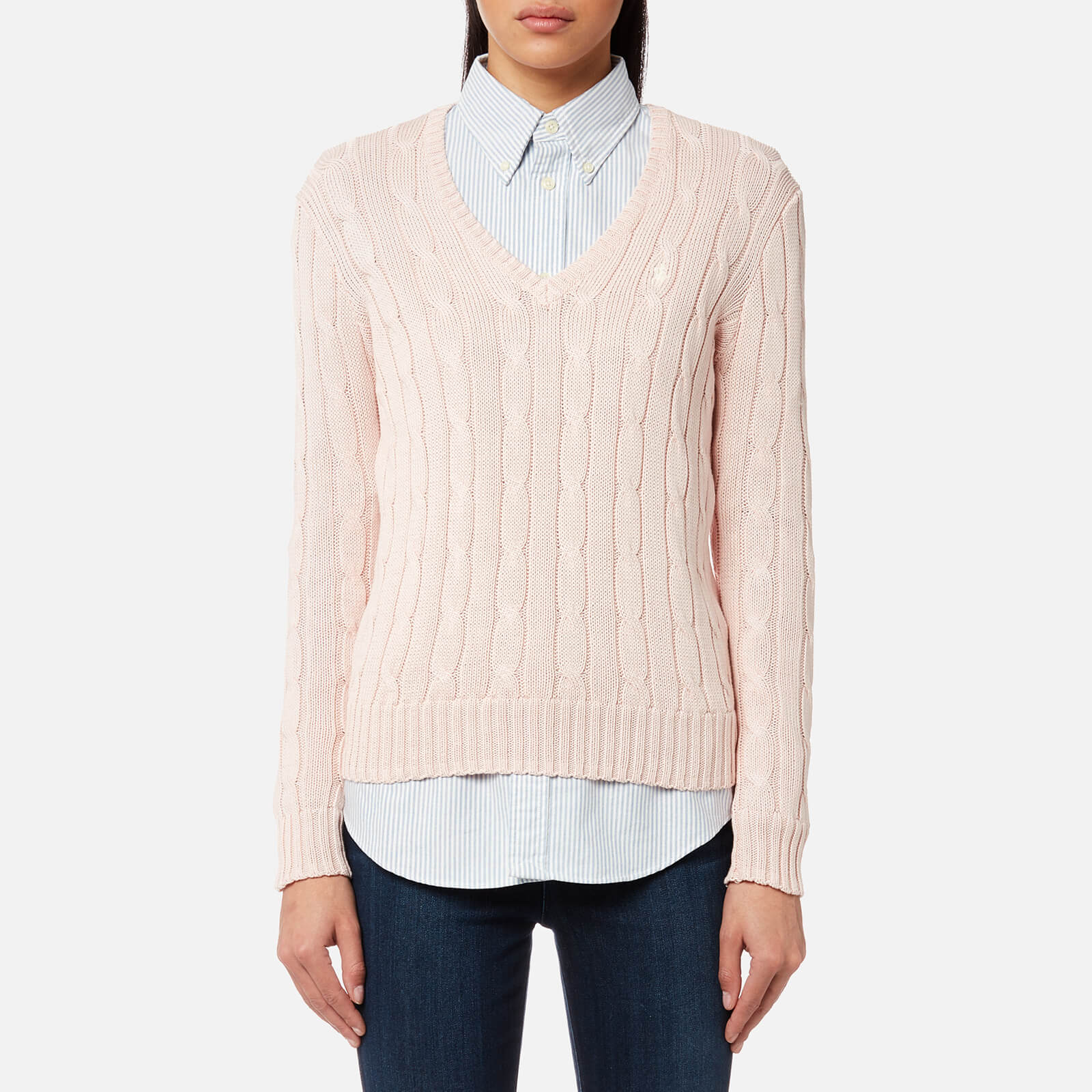4c519d6a26ca2c Polo Ralph Lauren Women's Kimberly V Neck Jumper - Pale Pink - Free UK  Delivery over £50