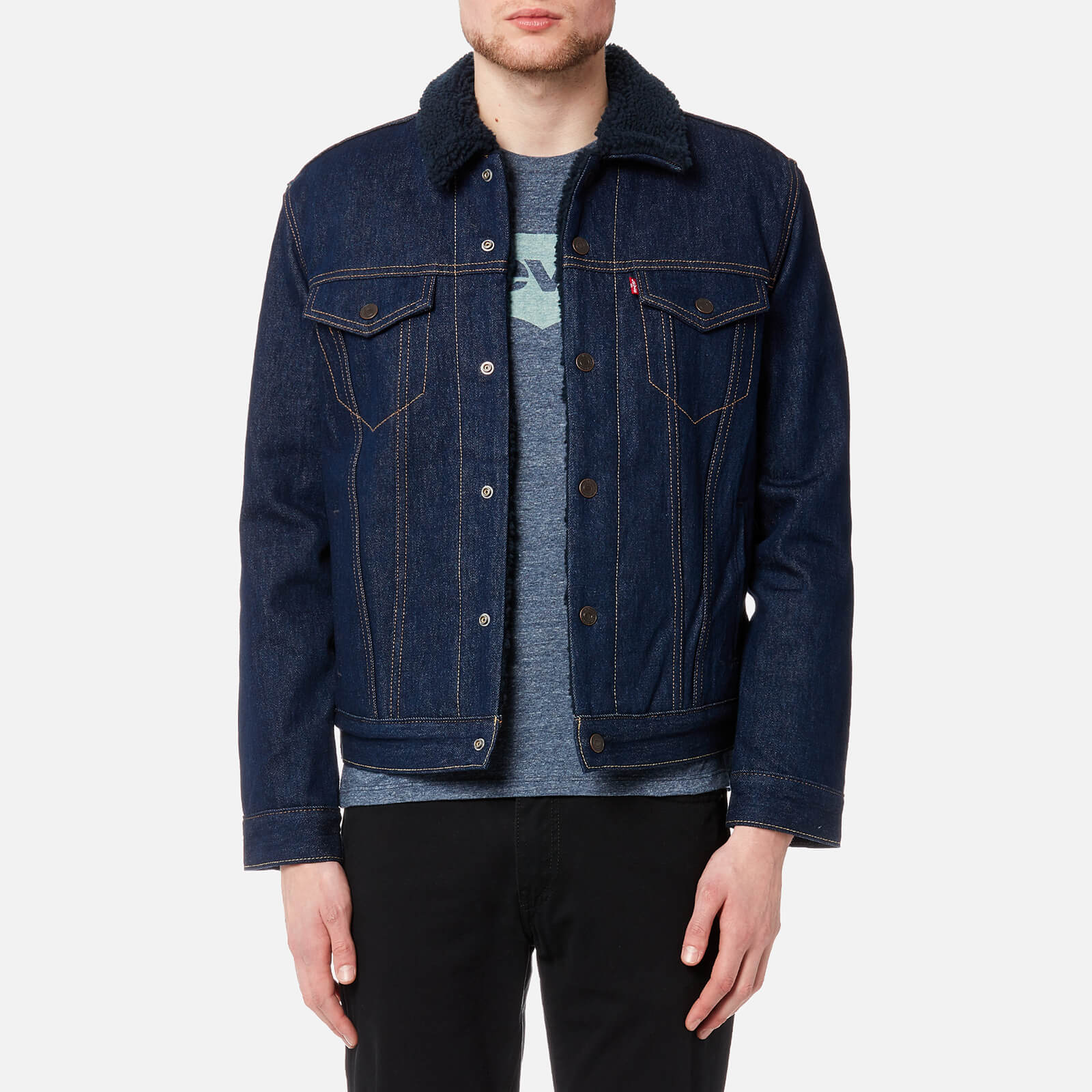 209e91f0d11 Levi's Men's Type 3 Sherpa Trucker Jacket - Indigo Sheep Clothing |  TheHut.com