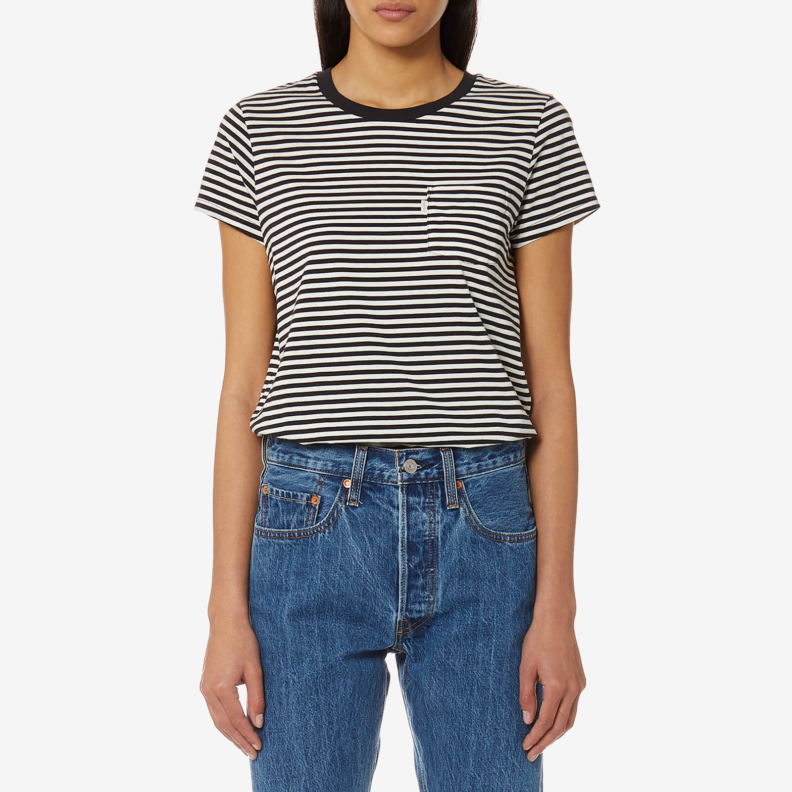 6513e92f7f7d Levi's Women's The Perfect Pocket T-Shirt - Gina Obsidian/Cloud Dancer -  Free UK Delivery over £50