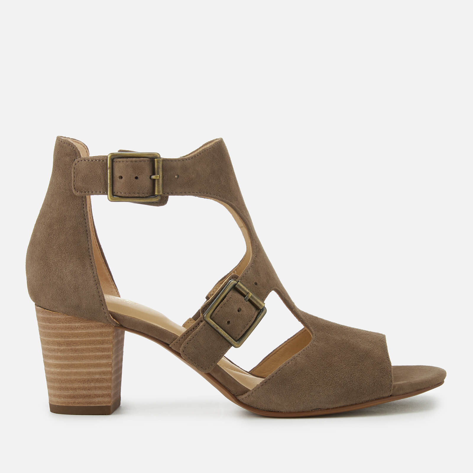 b378acad6 Clarks Women's Deloria Kay Suede Block Heeled Sandals - Olive | FREE UK  Delivery | Allsole