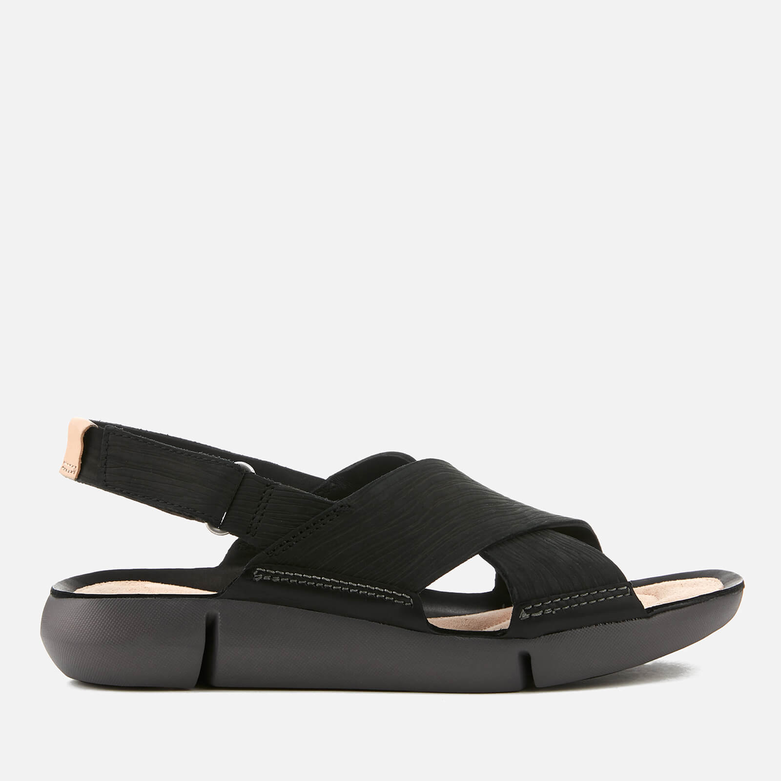 806f9c779f72 Clarks Women s Tri Chloe Nubuck Cross Strap Sandals - Black Womens  Accessories