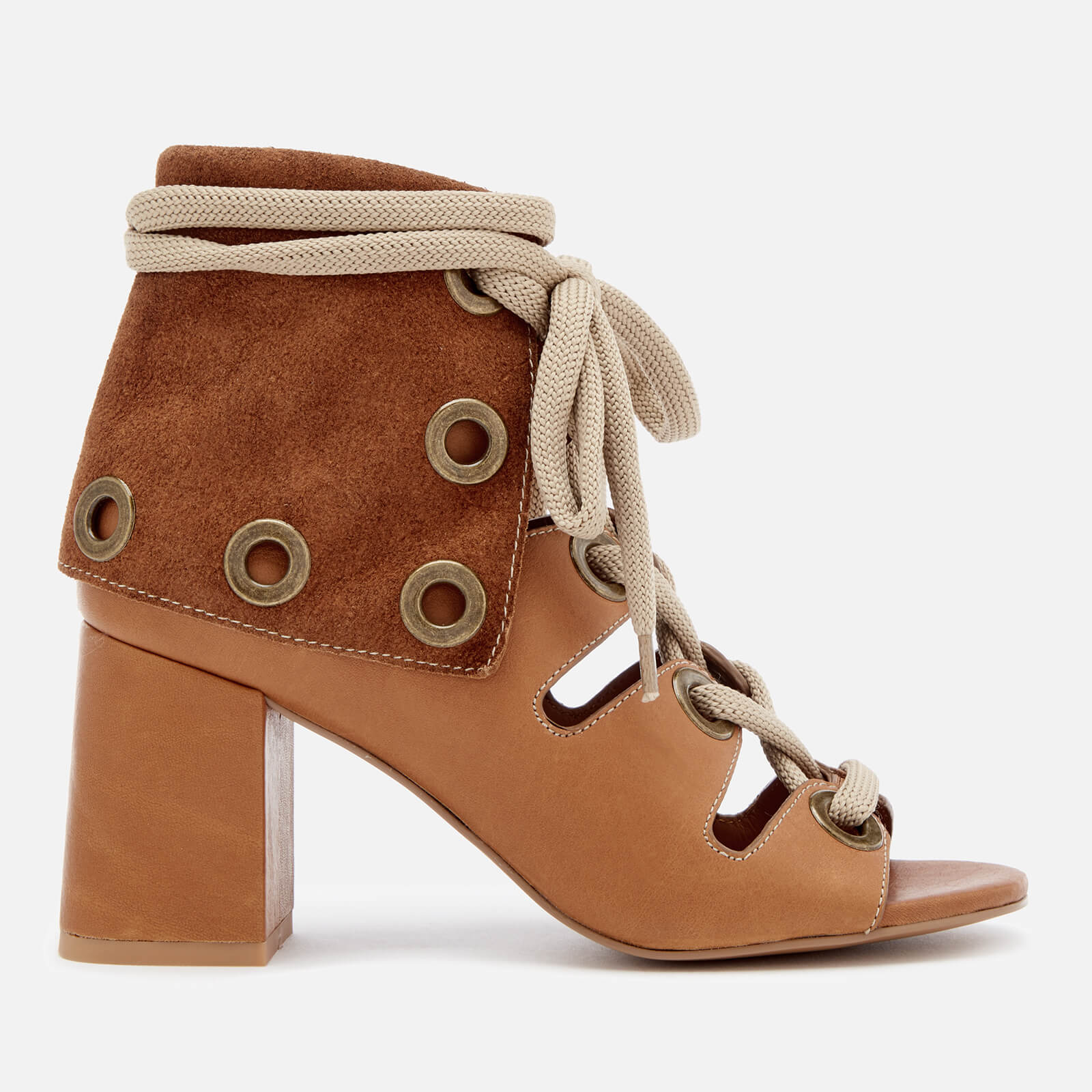 58156b962234 See By Chloé Women s Calf Leather Heeled Sandals - Cuoio - Free UK Delivery  over £50