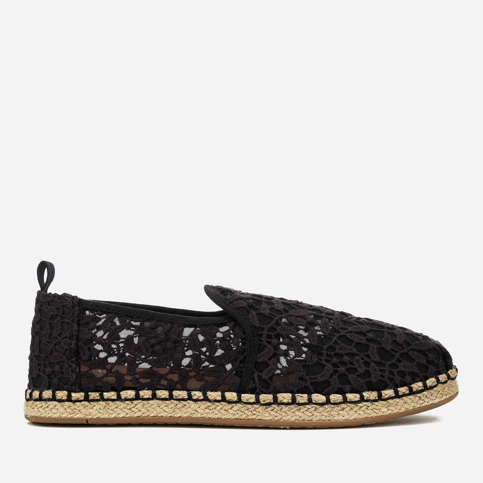 e412914b2 TOMS Women's Deconstructed Alpargata Rope Espadrilles - Black Lace Leaves |  FREE UK Delivery | Allsole