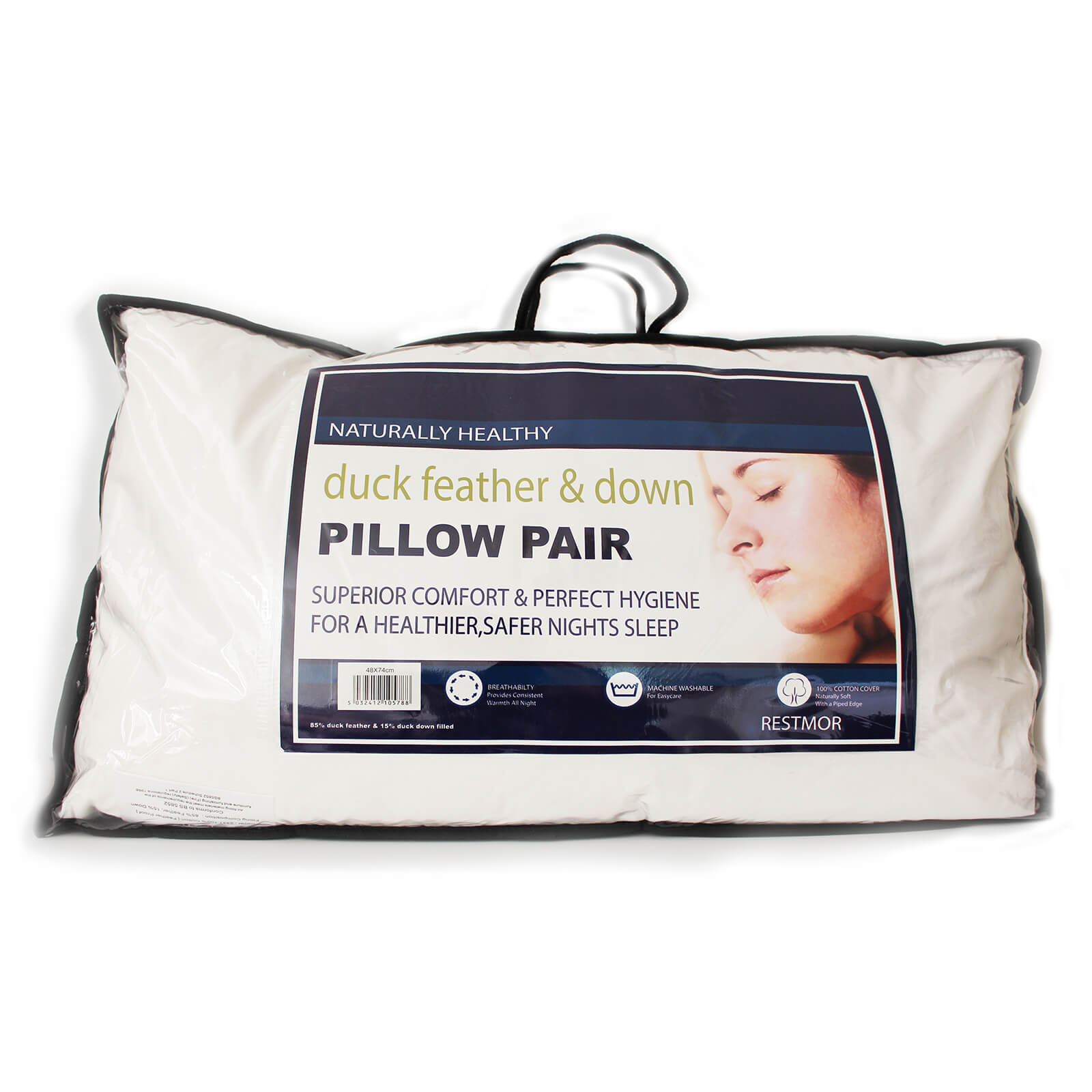 Restmor Duck Feather and Down Pillow Pair - White (50cm x 75cm)