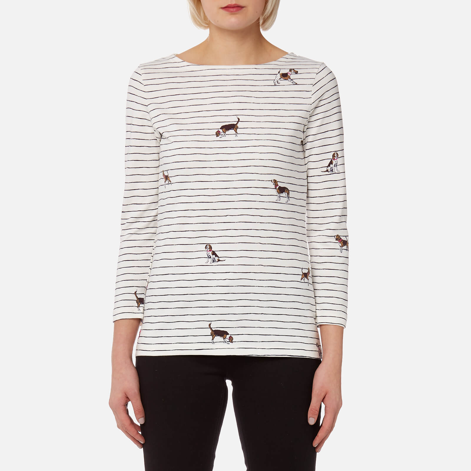 Joules Harbour Print Jersey Top Cream Dog Stripe Size 8