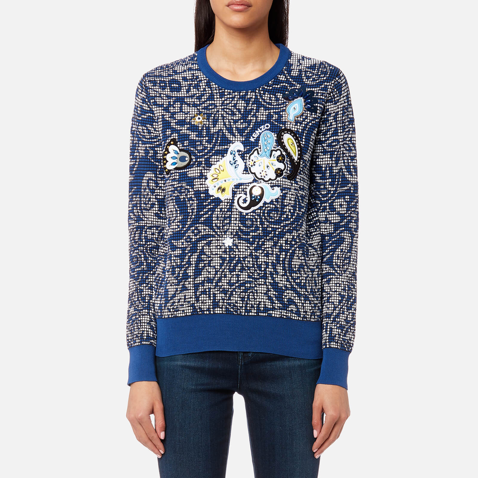 c72651129 KENZO Women's Embroidered Paisley Jumper - French Blue - Free UK Delivery  over £50