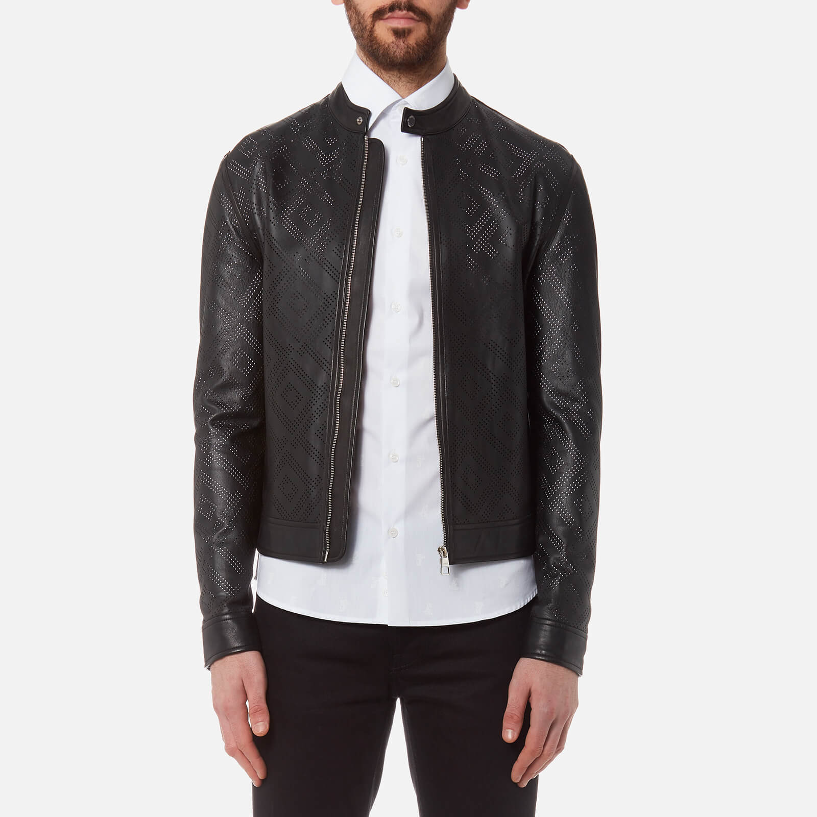 71ae8dad Versace Collection Men's Perforated Leather Jacket - Nero