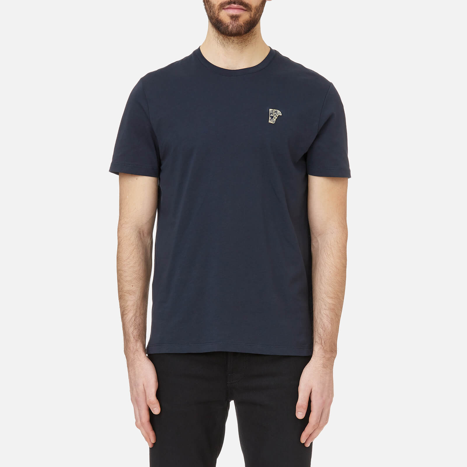 b4653218 Versace Collection Men's Small Logo T-Shirt Girocollo - Navy-Oro Clothing |  TheHut.com