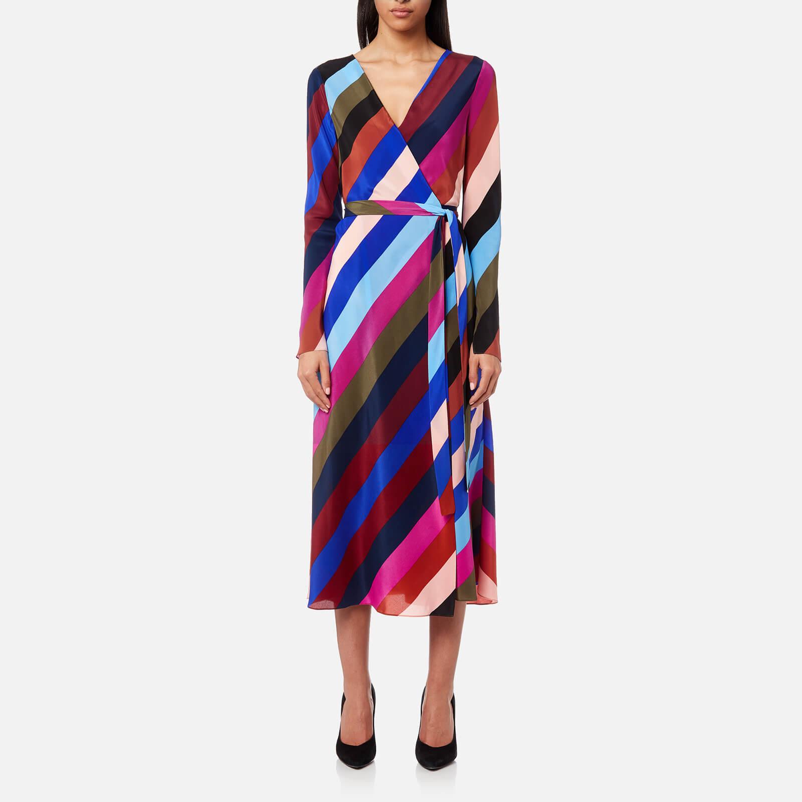 898d75a44a Diane von Furstenberg Women's Midi Woven Wrap Dress - Carson Stripe Black/ Multi - Free UK Delivery over £50