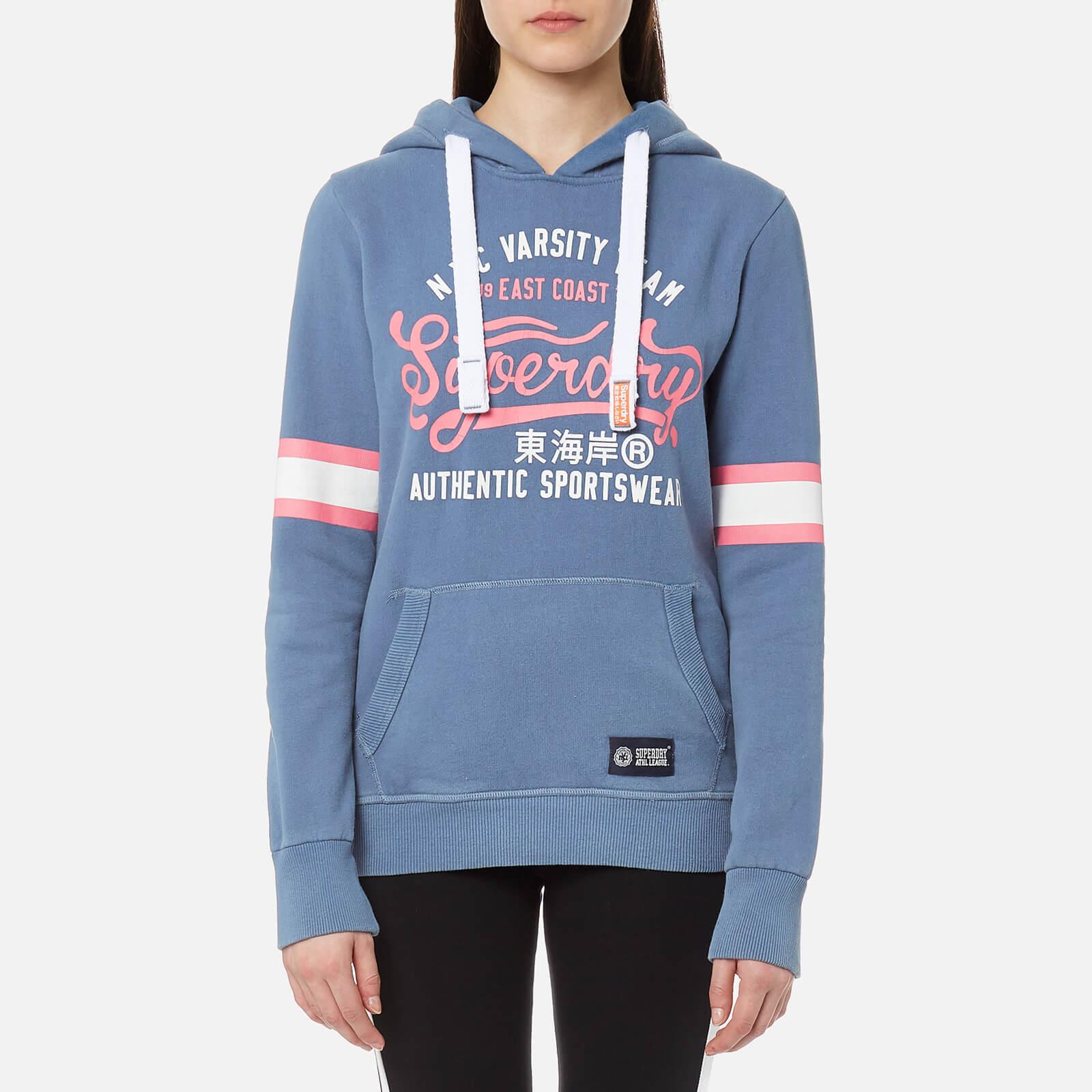 Superdry Women S Varsity Team Entry Hooded Sweatshirt Sorority Blue