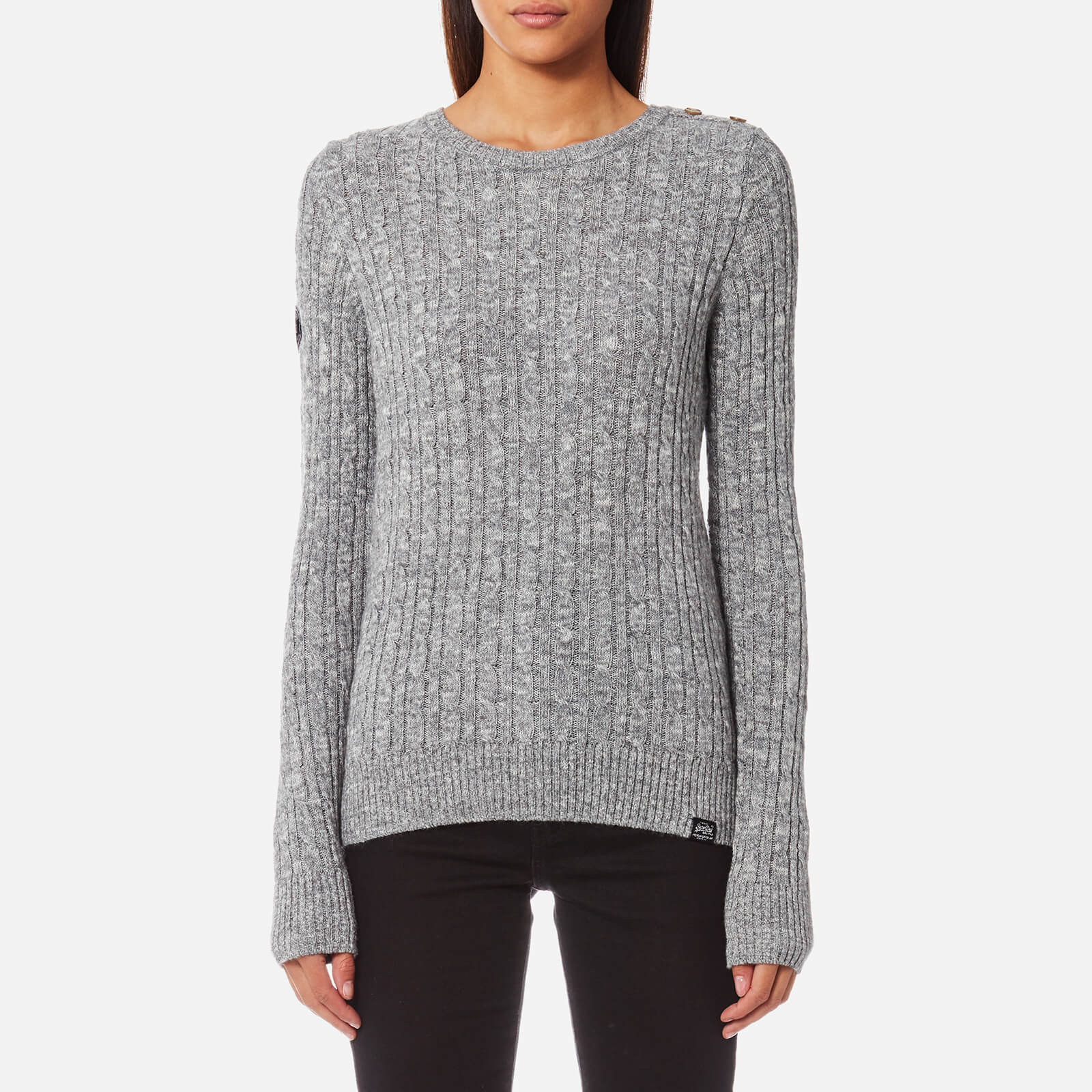 8af86d34e Superdry Women s Croyde Cable Knitted Jumper - Gamma Grey Marl Womens  Clothing