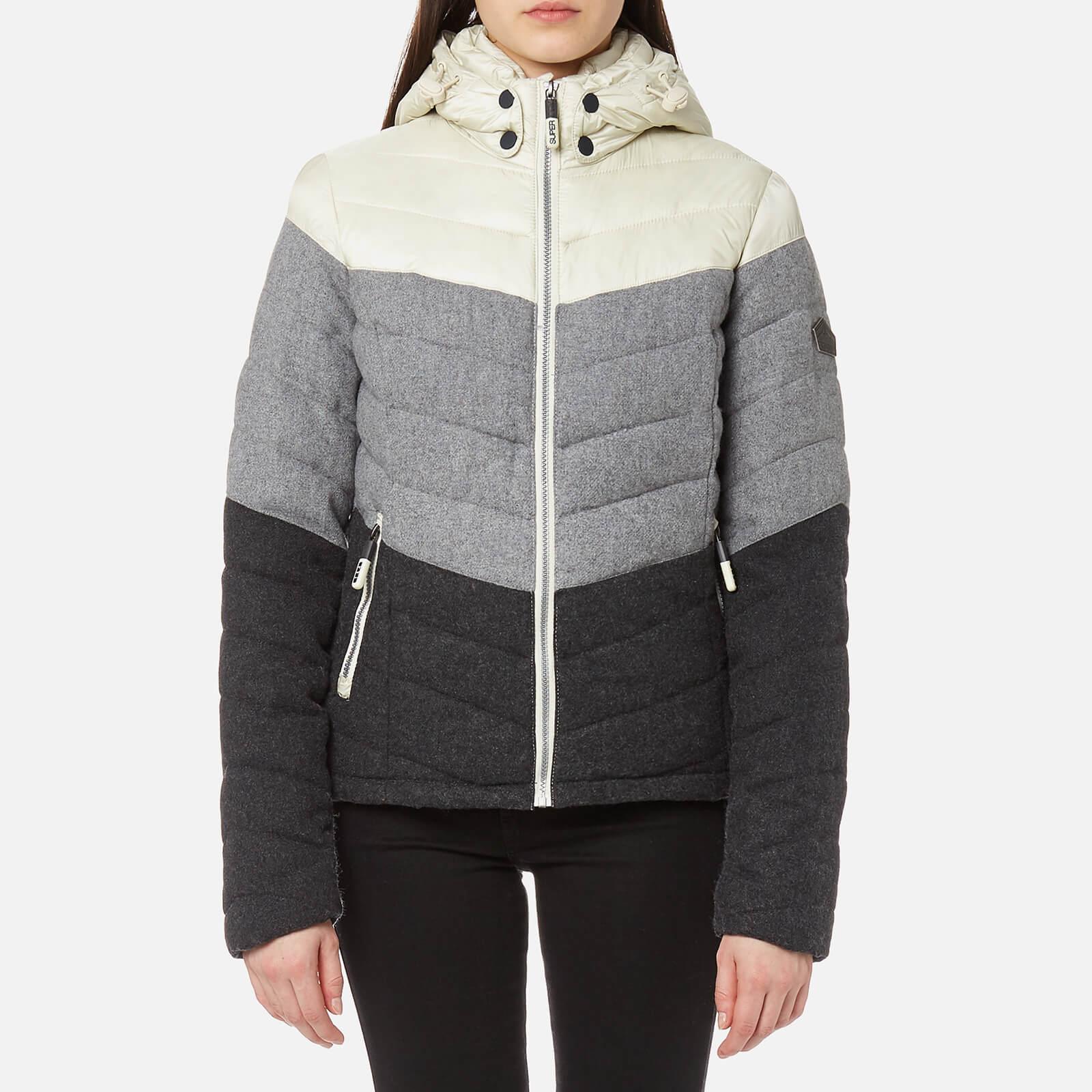 09355902b8d5 Superdry Women s Fuji Chevron Mix Hooded Jacket - Grey Mix Womens Clothing