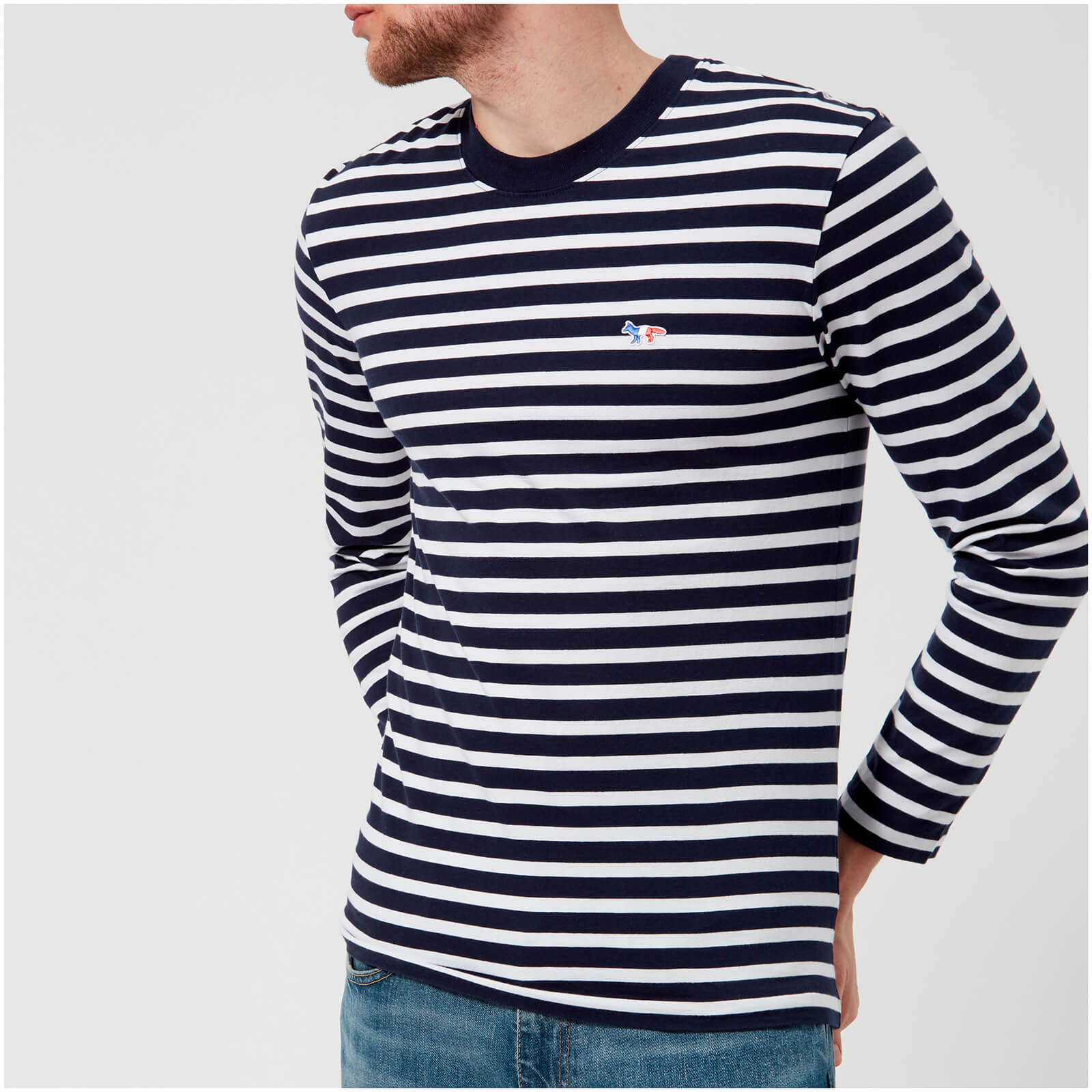 868cbede9c85 Maison Kitsuné Men s Marin Long Sleeve T-Shirt with Tricolor Fox Patch -  Navy White - Free UK Delivery over £50