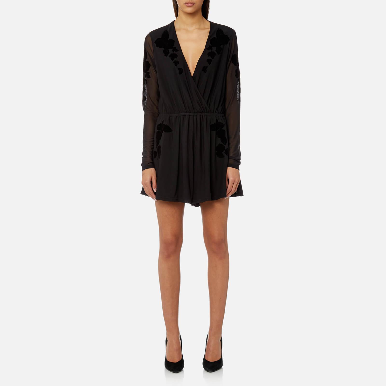 26fc396046 MINKPINK Women s Drifters Flocked Mesh Playsuit - Black Womens Clothing
