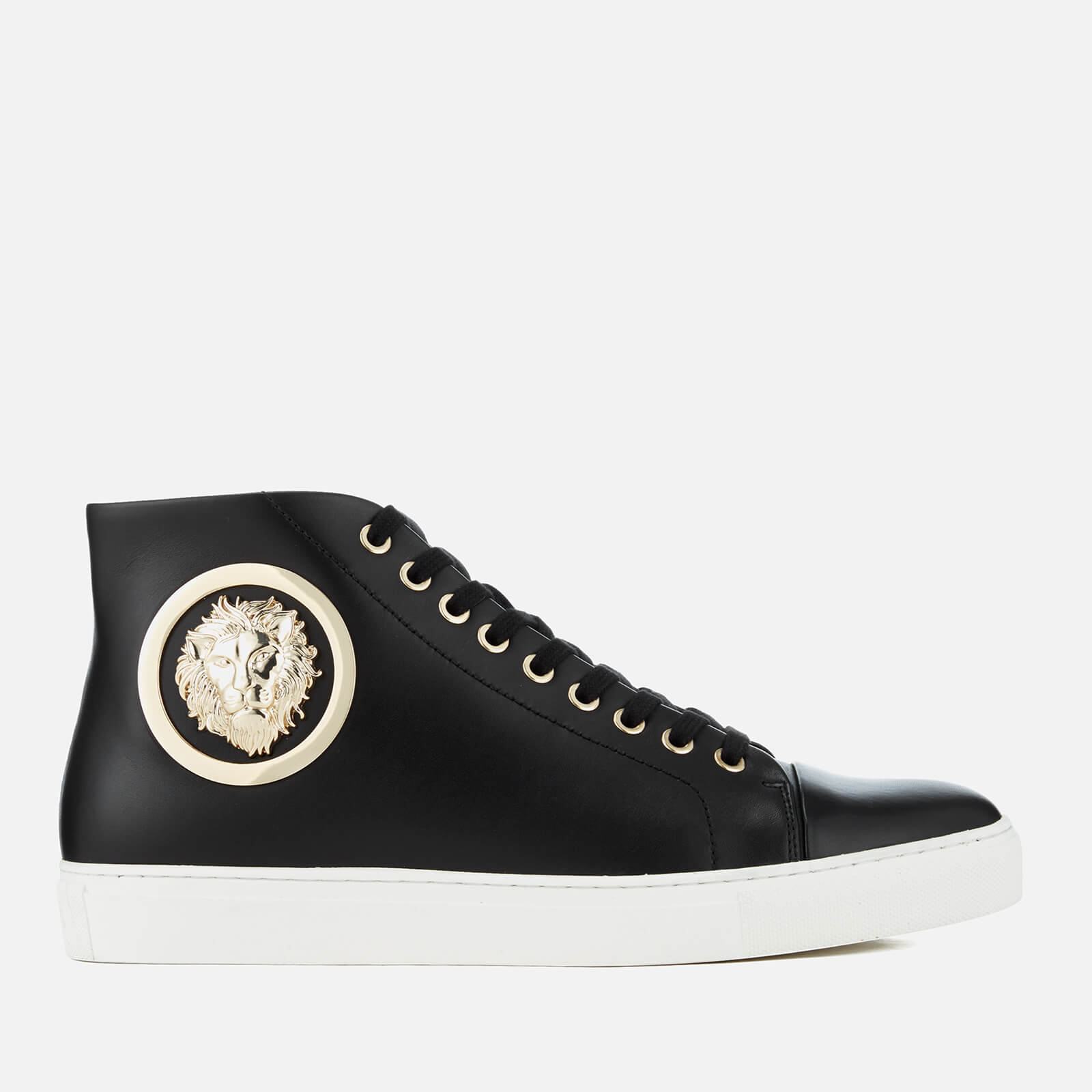 34f1ef12b9ed9 Versus Versace Men s Round Gold Logo High Top Trainers - Black Optic  White Light Gold - Free UK Delivery over £50