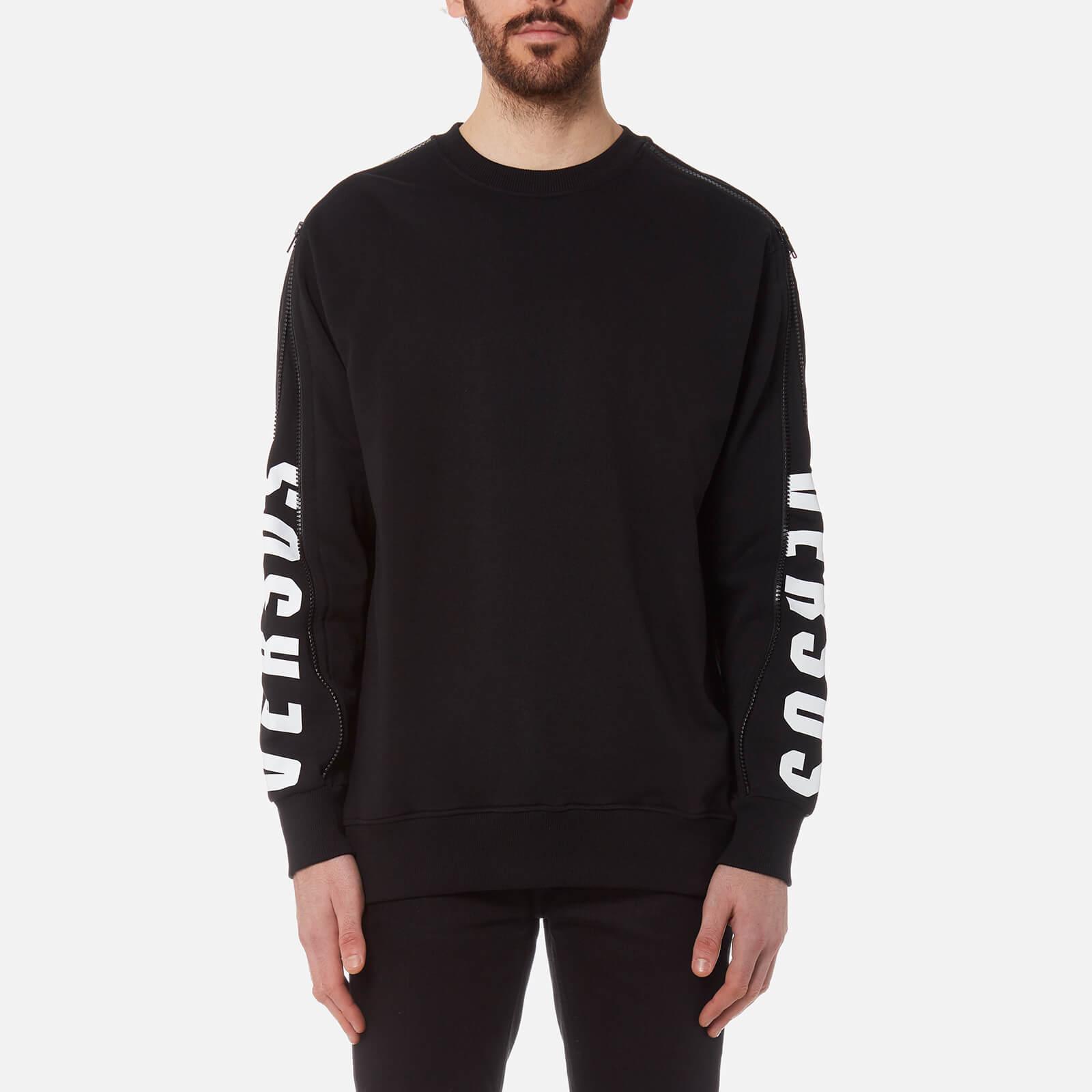 3493ca14e0c Versus Versace Men s Zipped Sleeve Logo Sweatshirt - Black Stampa - Free UK  Delivery over £50