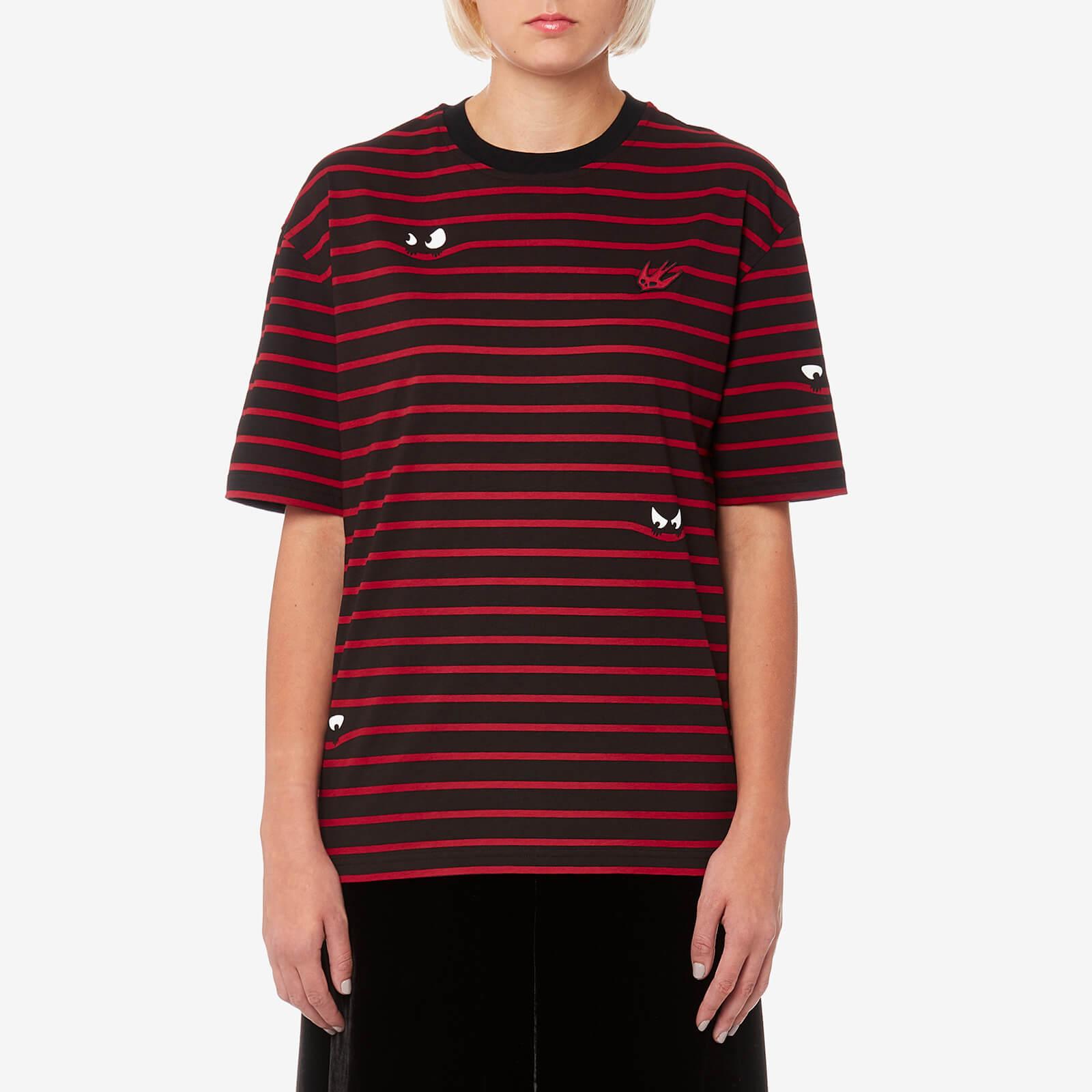 87e42c18 McQ Alexander McQueen Women's Boyfriend Stripe T-Shirt - Striped Black/Red  - Free UK Delivery over £50