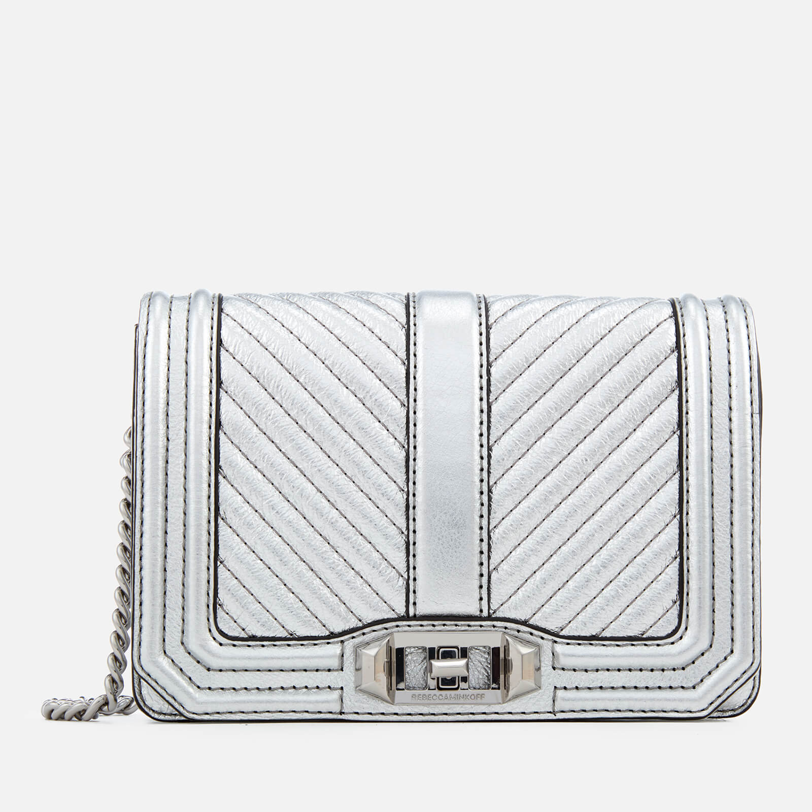 719dd4464accc Rebecca Minkoff Women s Chevron Quilted Small Love Cross Body Bag - Silver  - Free UK Delivery over £50